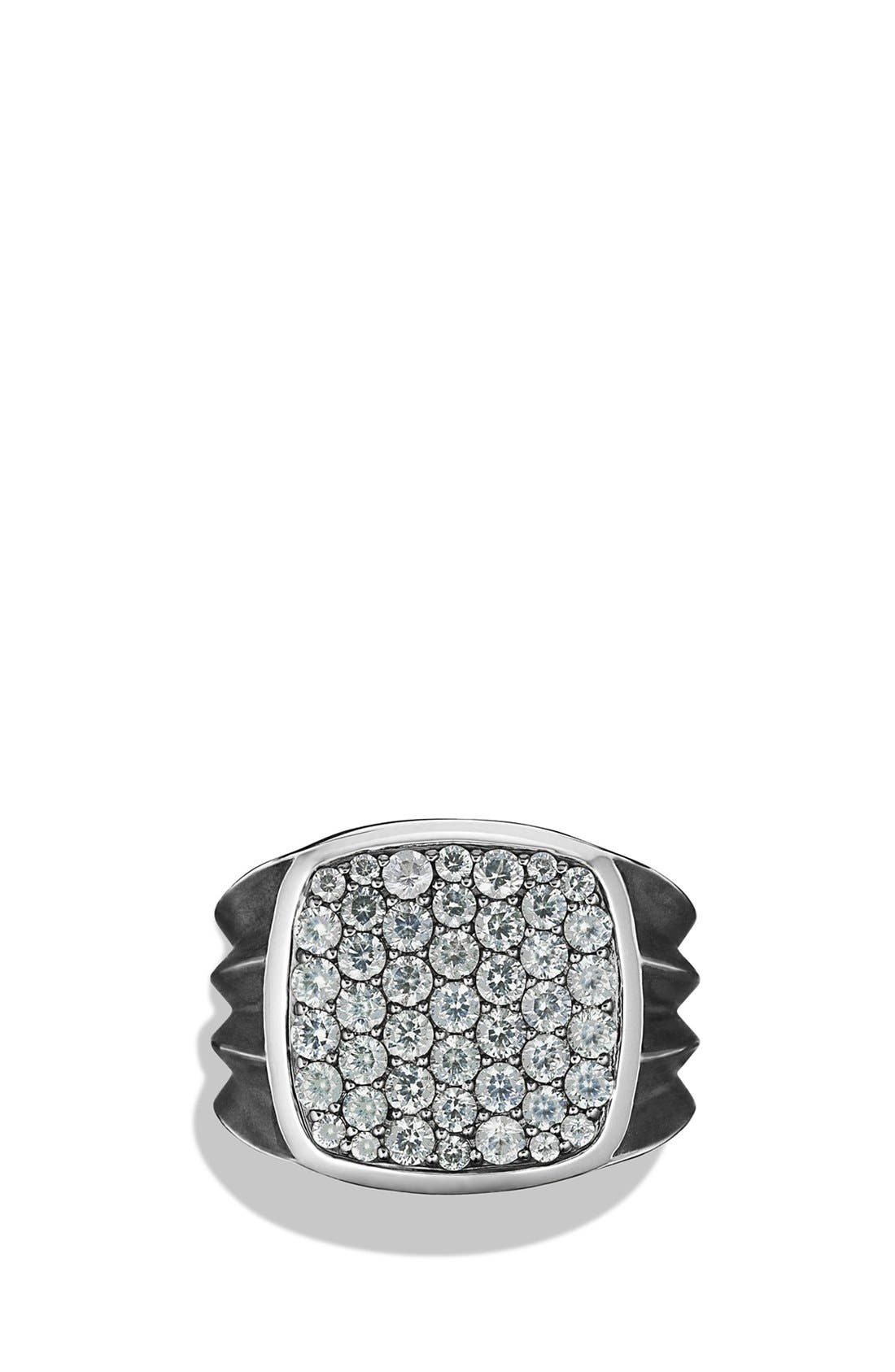 'Knife Edge' Signet Ring with Black Diamonds,                             Main thumbnail 2, color,