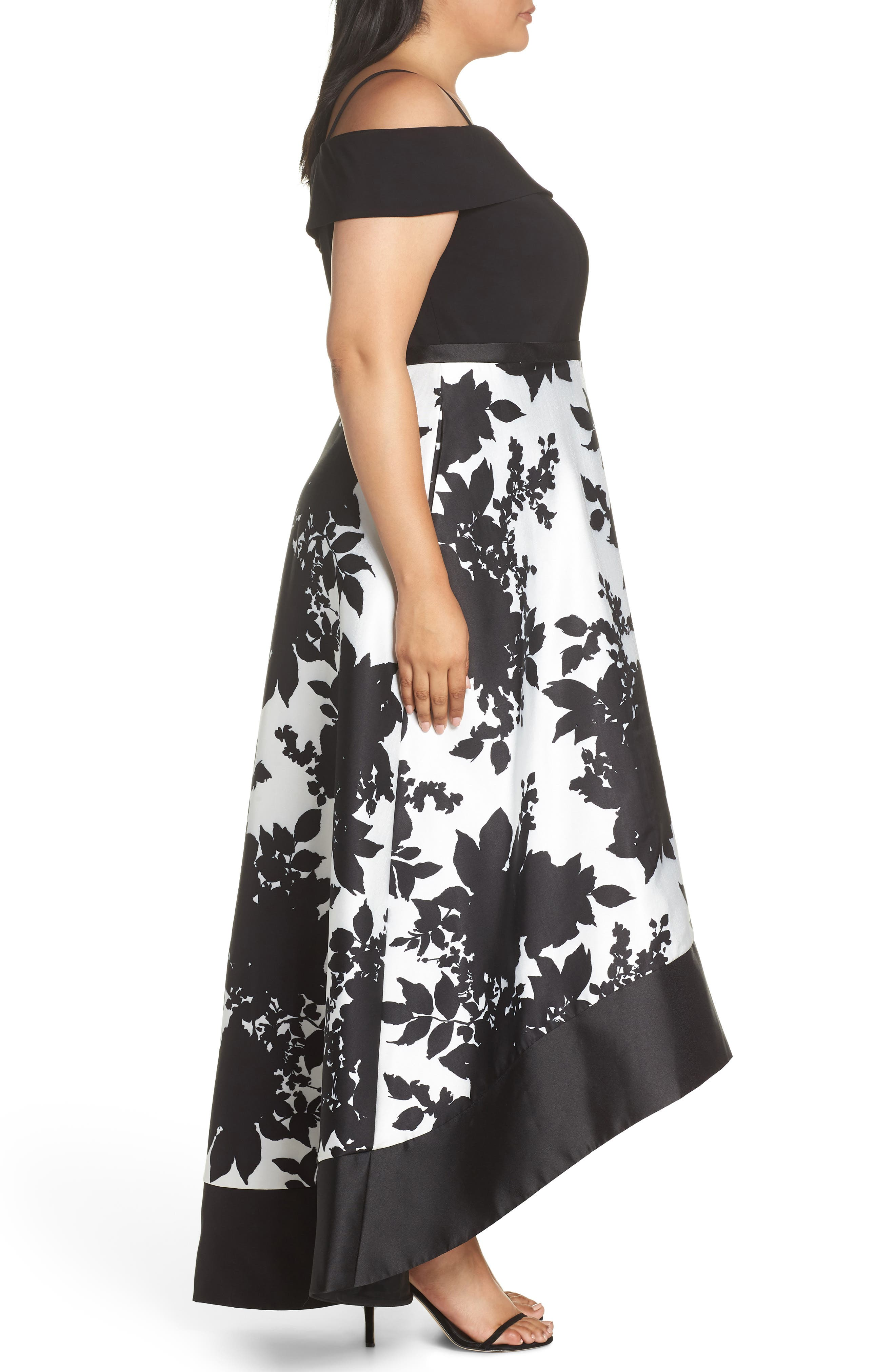 MORGAN & CO.,                             Off the Shoulder Bodice High/Low Hem Ballgown,                             Alternate thumbnail 3, color,                             BLACK/ WHITE