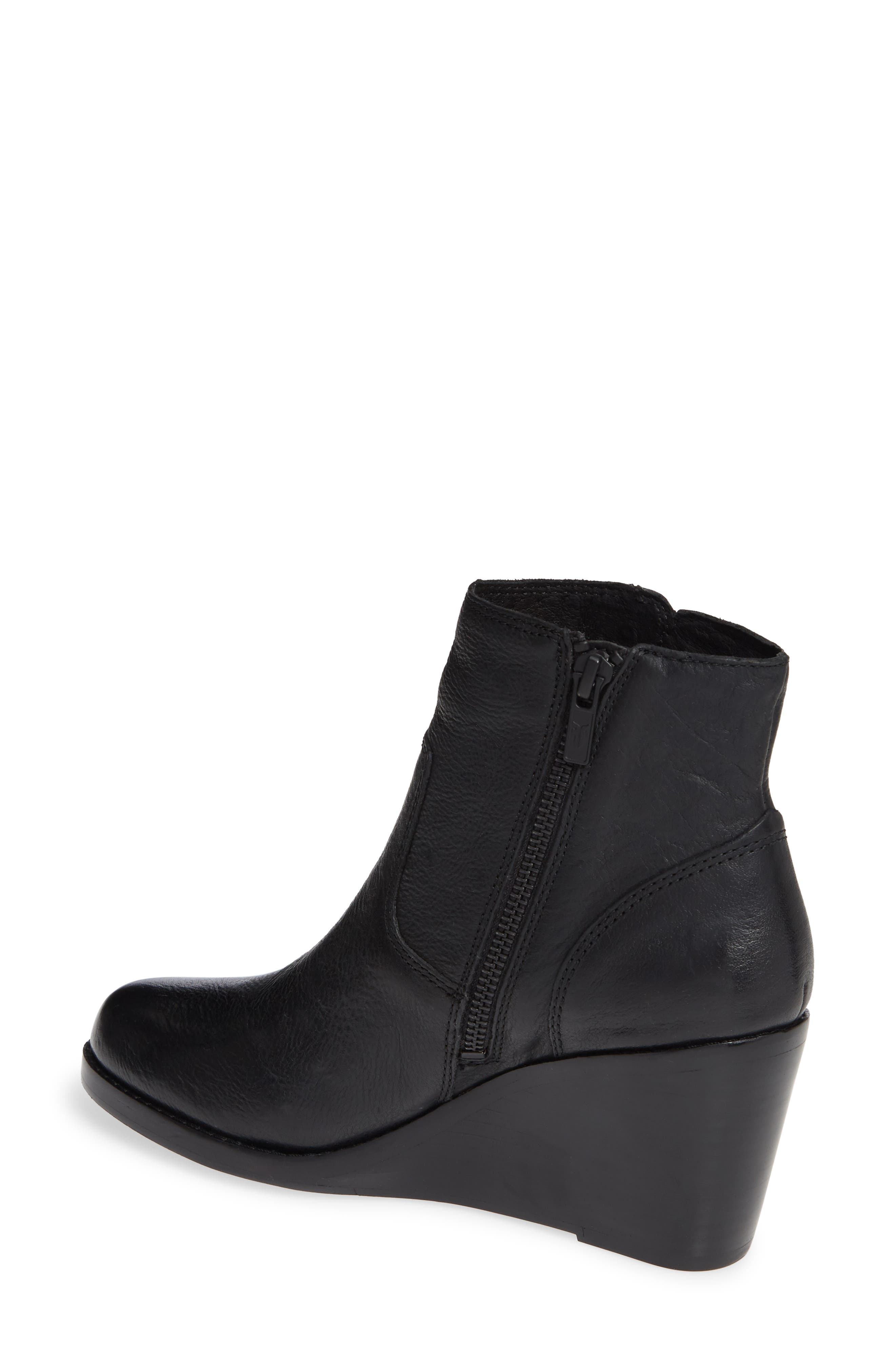 Emma Wedge Bootie,                             Alternate thumbnail 2, color,                             BLACK LEATHER