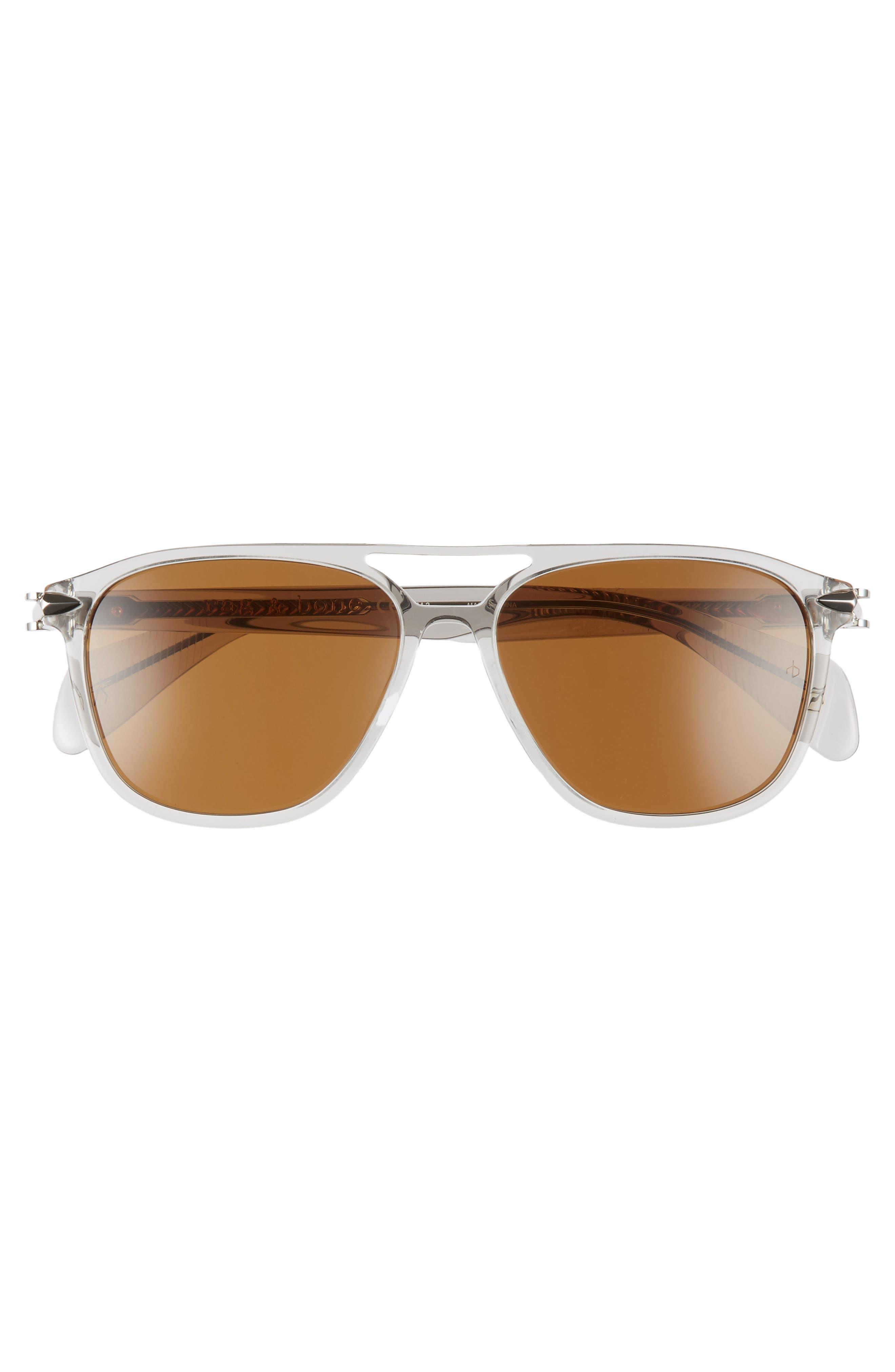 54mm Aviator Sunglasses,                             Alternate thumbnail 3, color,                             GREY