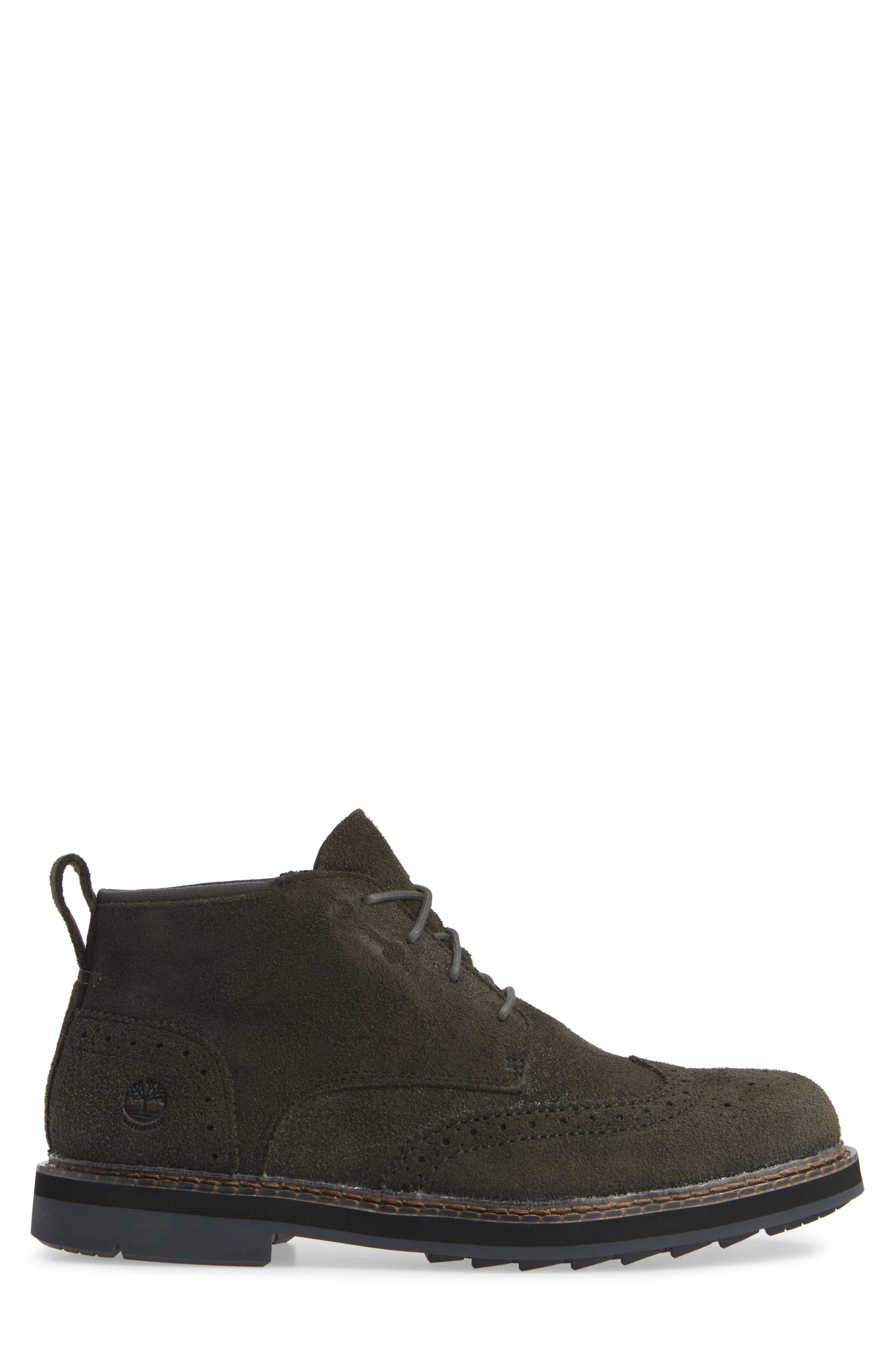 Squall Canyon Waterproof Wingtip Chukka Boot,                             Alternate thumbnail 3, color,                             VINTAGE GREEN SUEDE