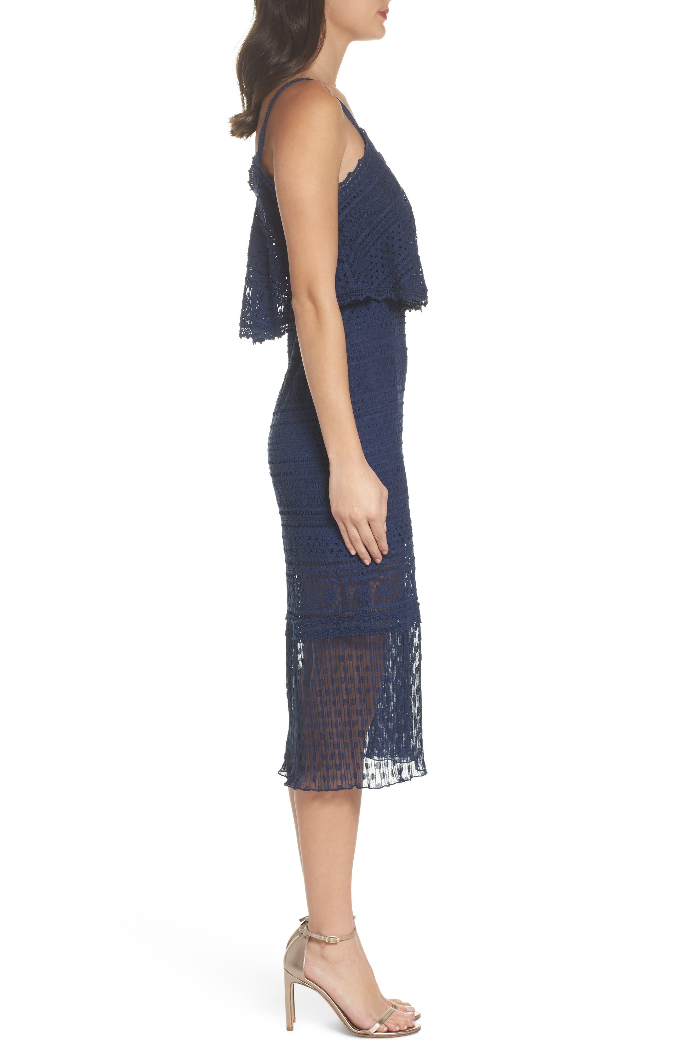 Ellie Lace Midi Dress,                             Alternate thumbnail 3, color,                             414
