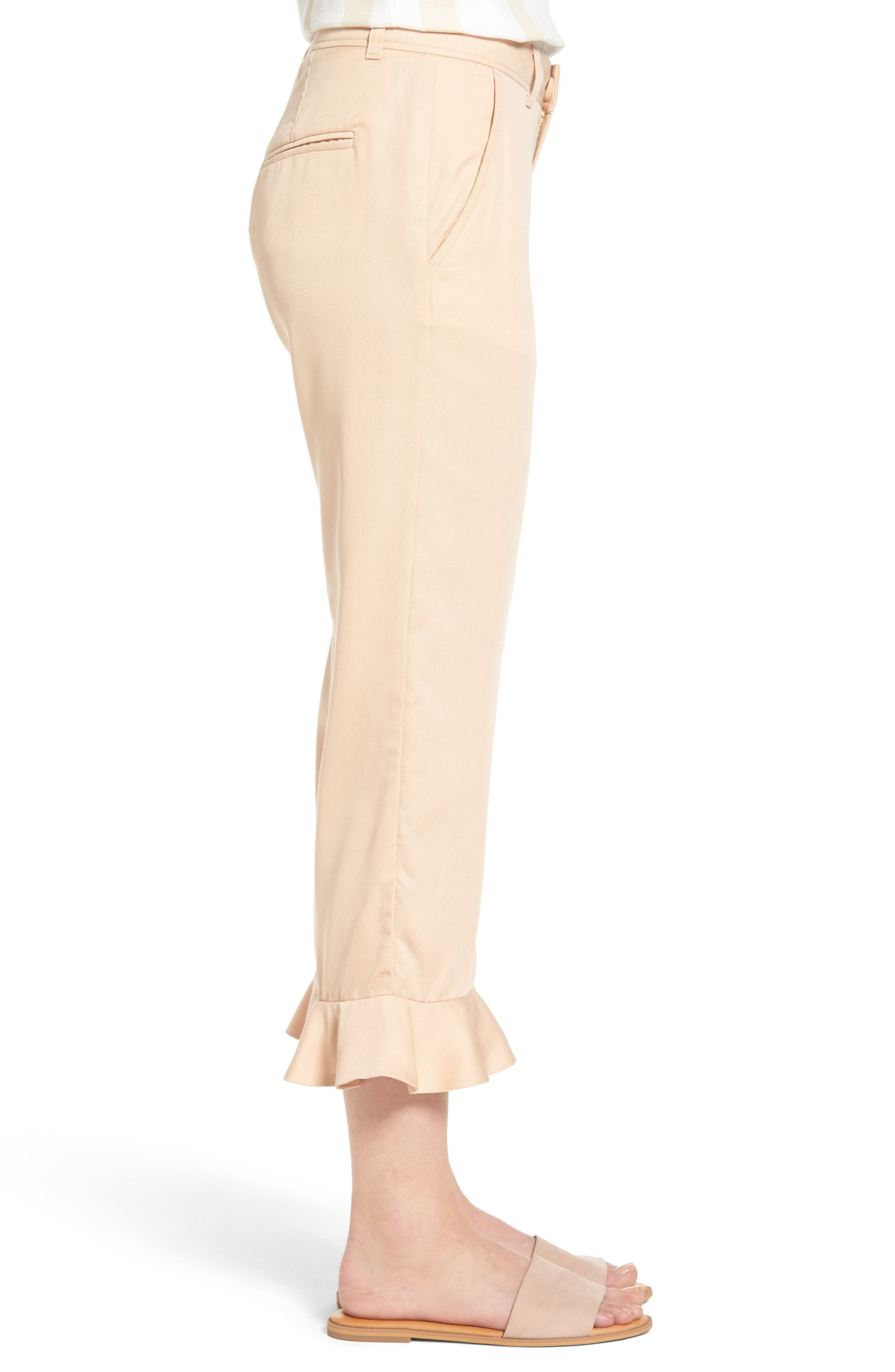 Ruffle Ankle Trousers,                             Alternate thumbnail 3, color,