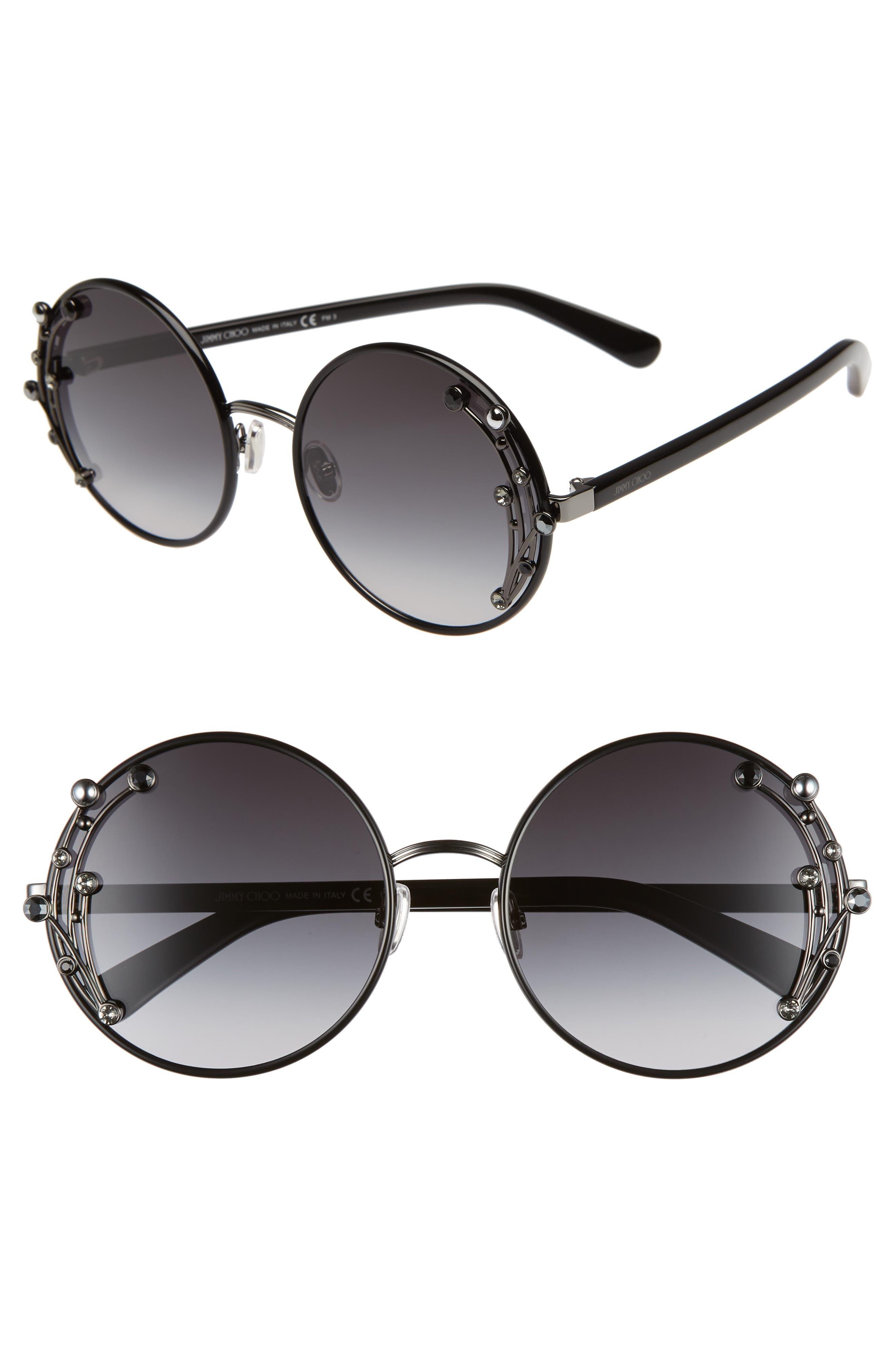 JIMMY CHOO Gema 59mm Round Sunglasses, Main, color, BLACK