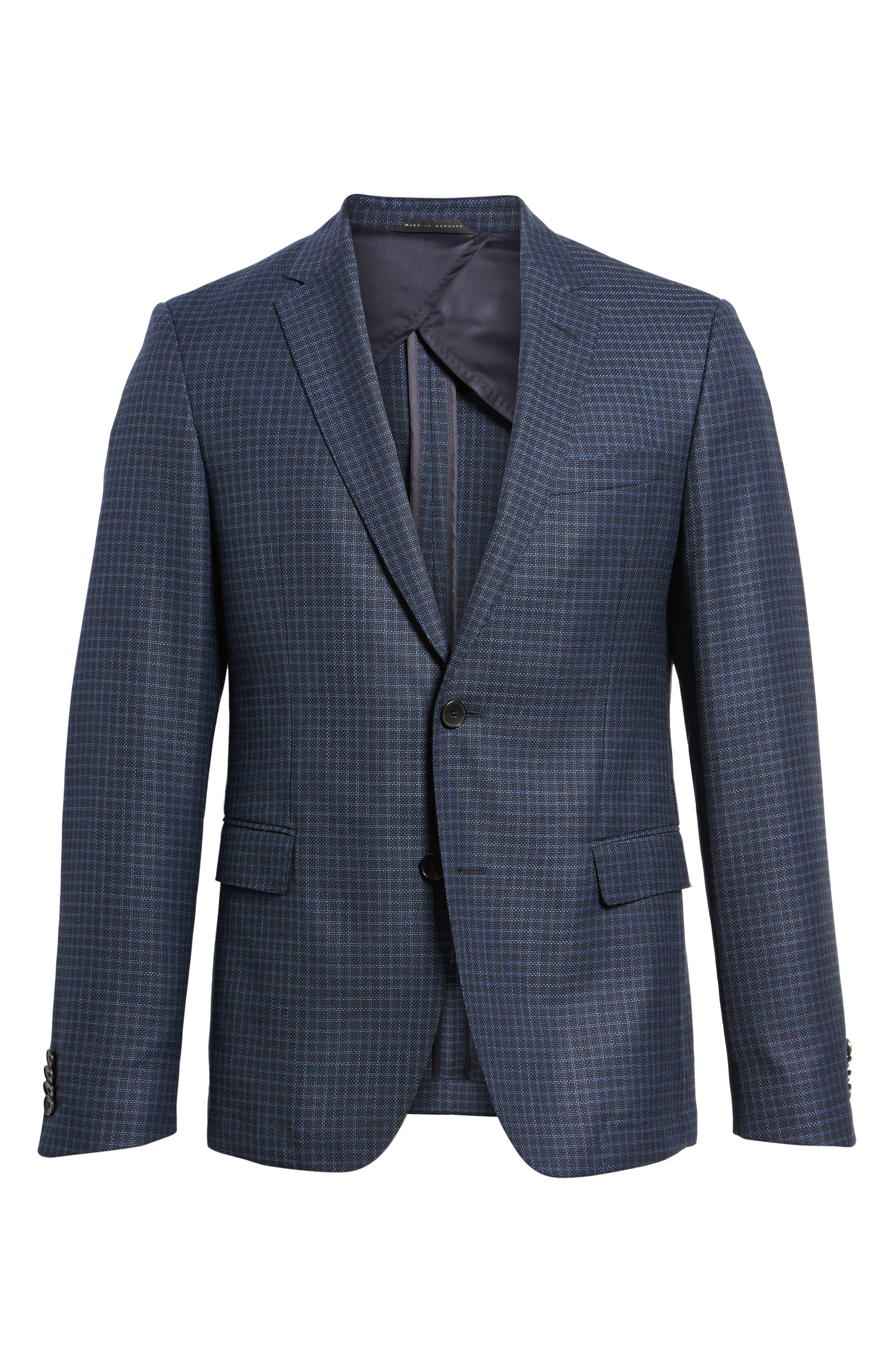 Nobis Trim Fit Check Wool Sport Coat,                             Alternate thumbnail 5, color,