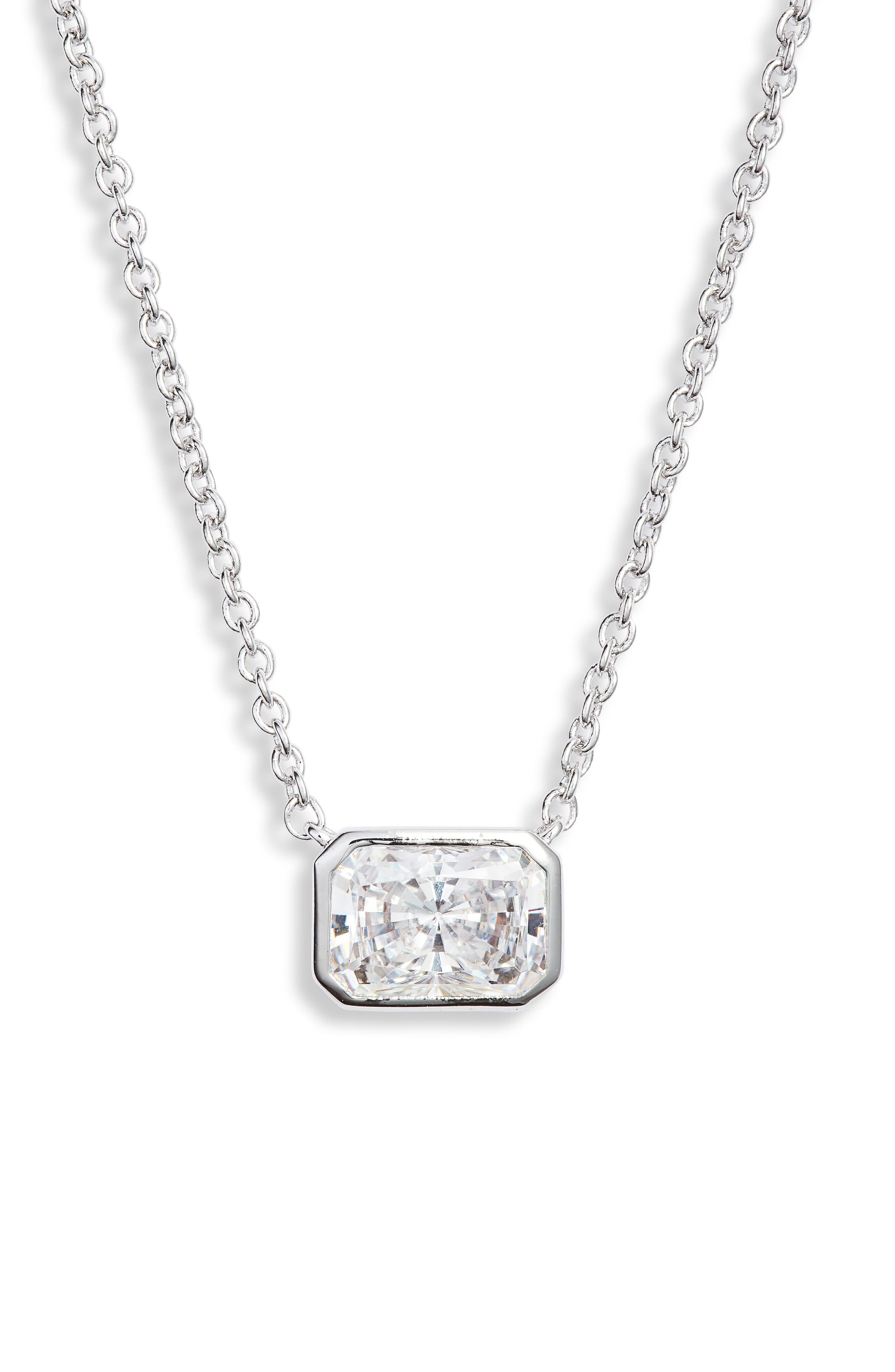 NADRI Baguette Pendant Necklace in White