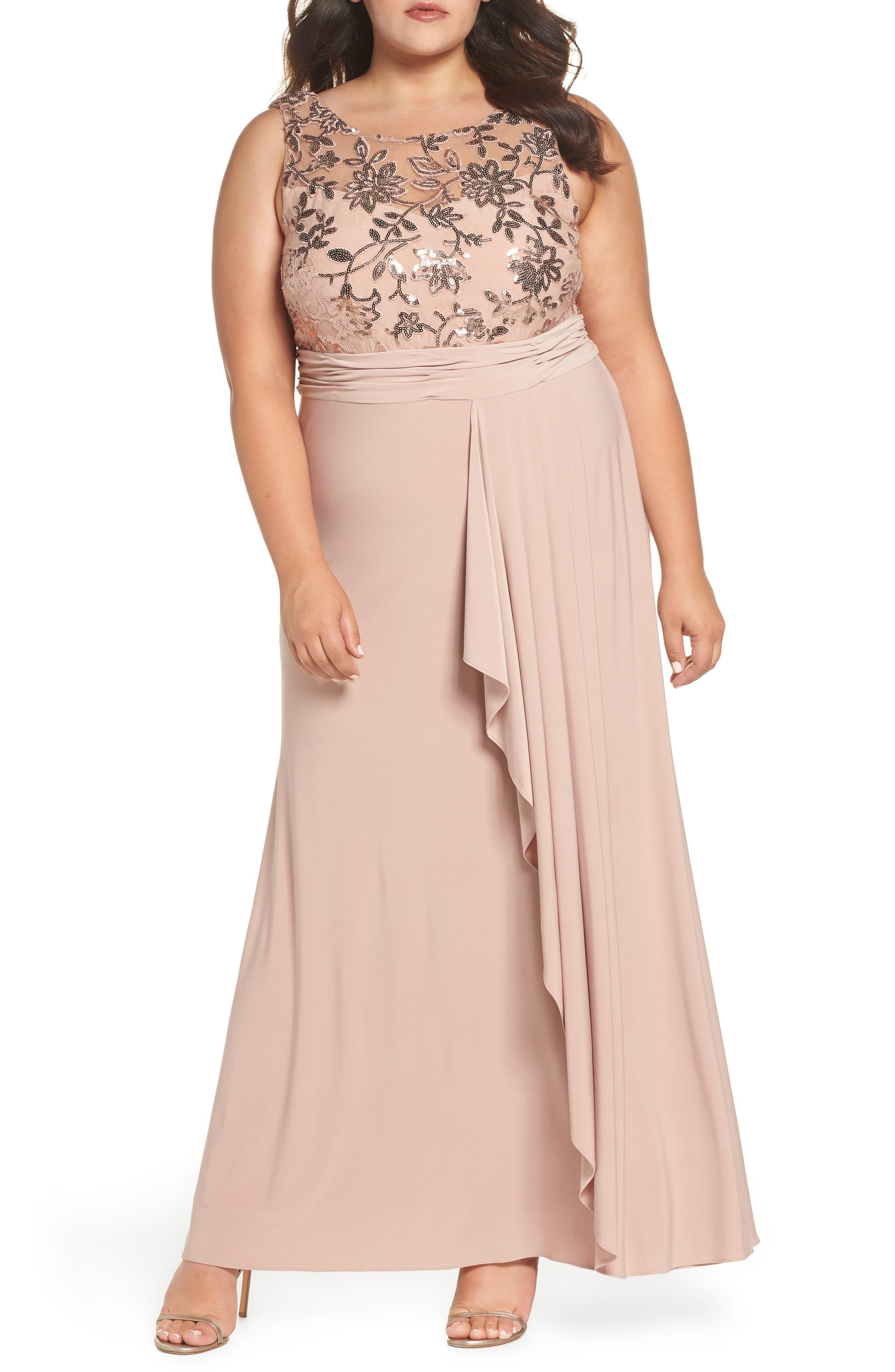Sequin Lace Bodice Ruffle Skirt Knit Gown,                             Main thumbnail 1, color,                             ROSE GOLD