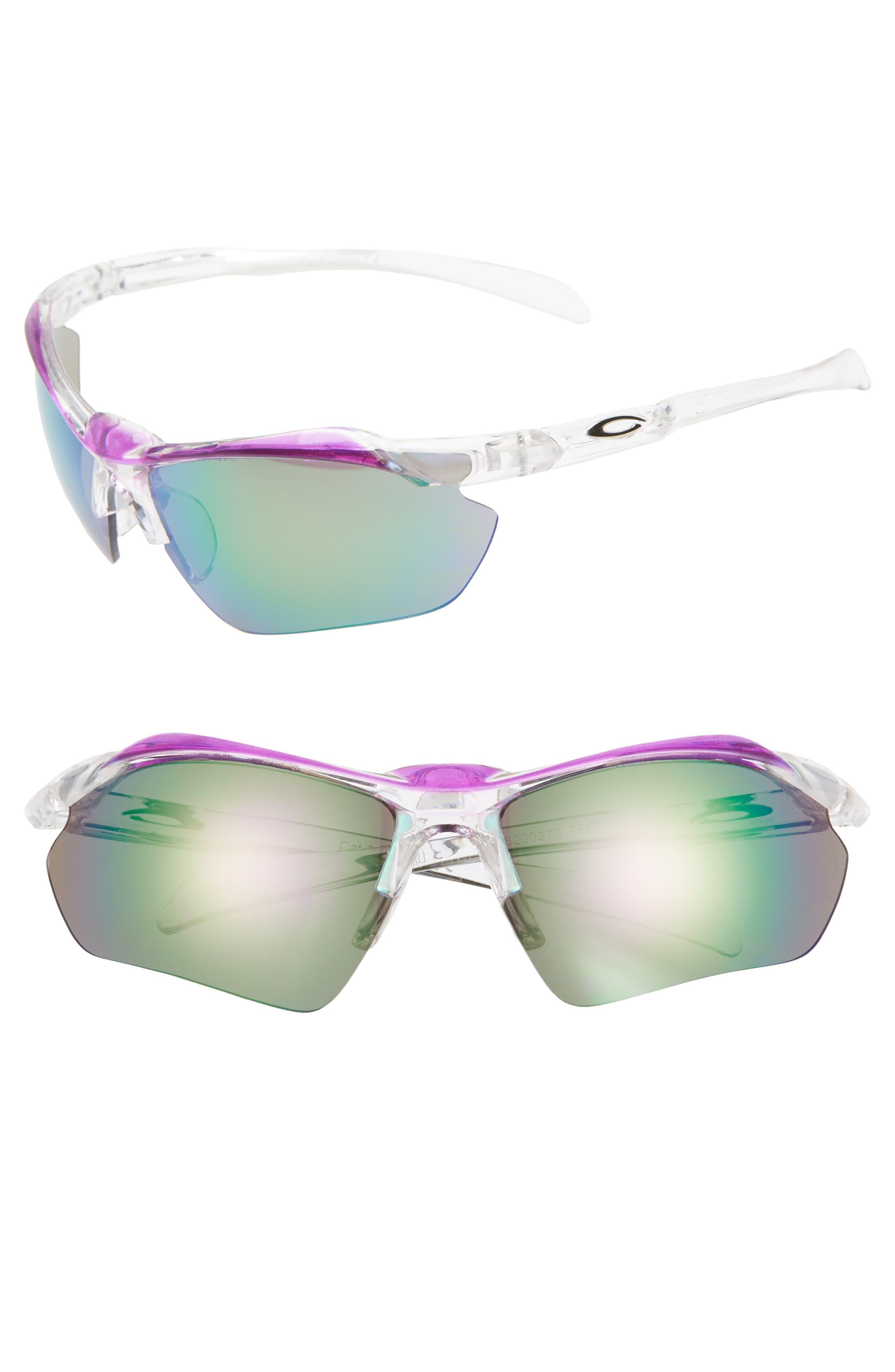 68mm Sport Shield Sunglasses, Main, color, CLEAR/ PURPLE