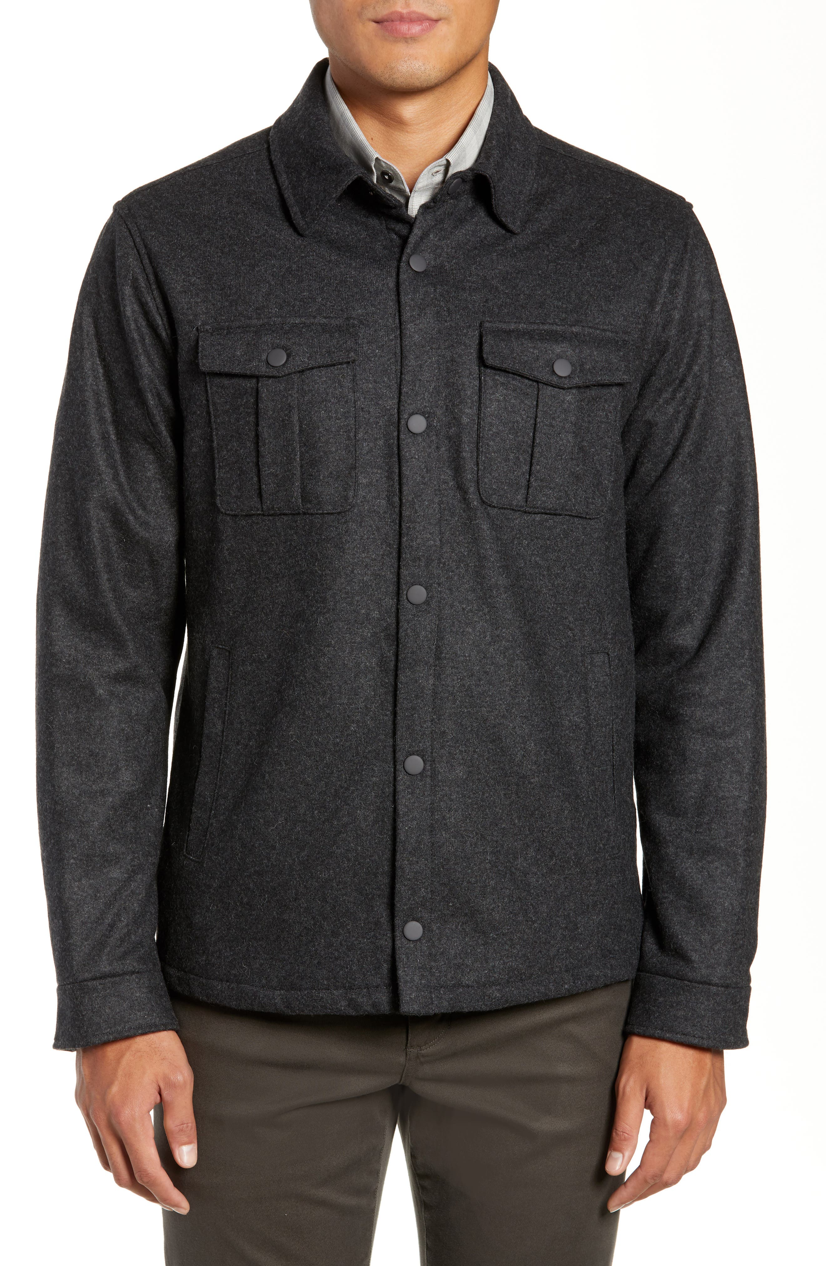 Seymour Regular Fit Wool Blend Shirt Jacket,                             Alternate thumbnail 4, color,                             DARK GREY
