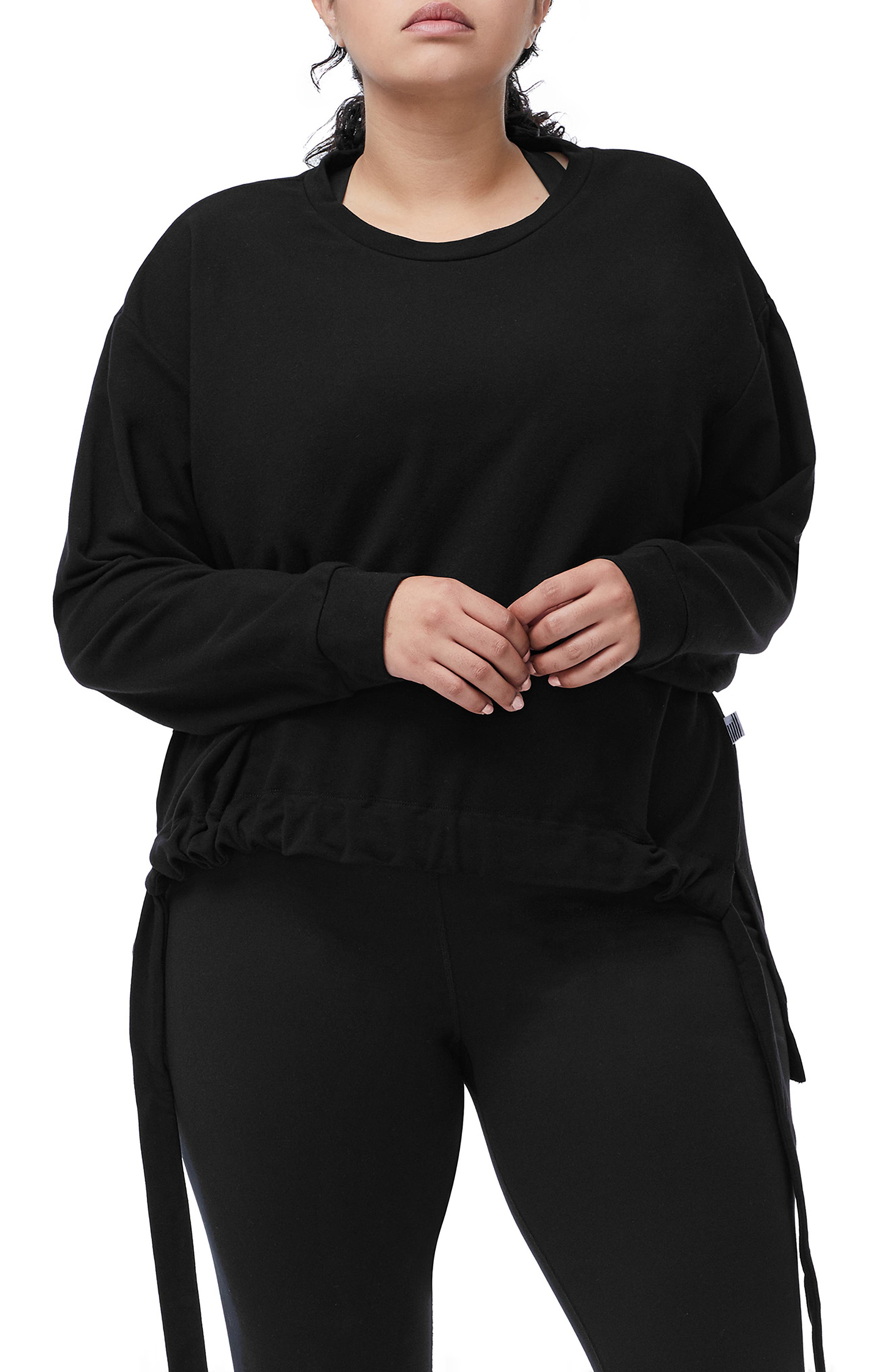 Ruched Hem High/Low Sweatshirt,                             Alternate thumbnail 2, color,                             001