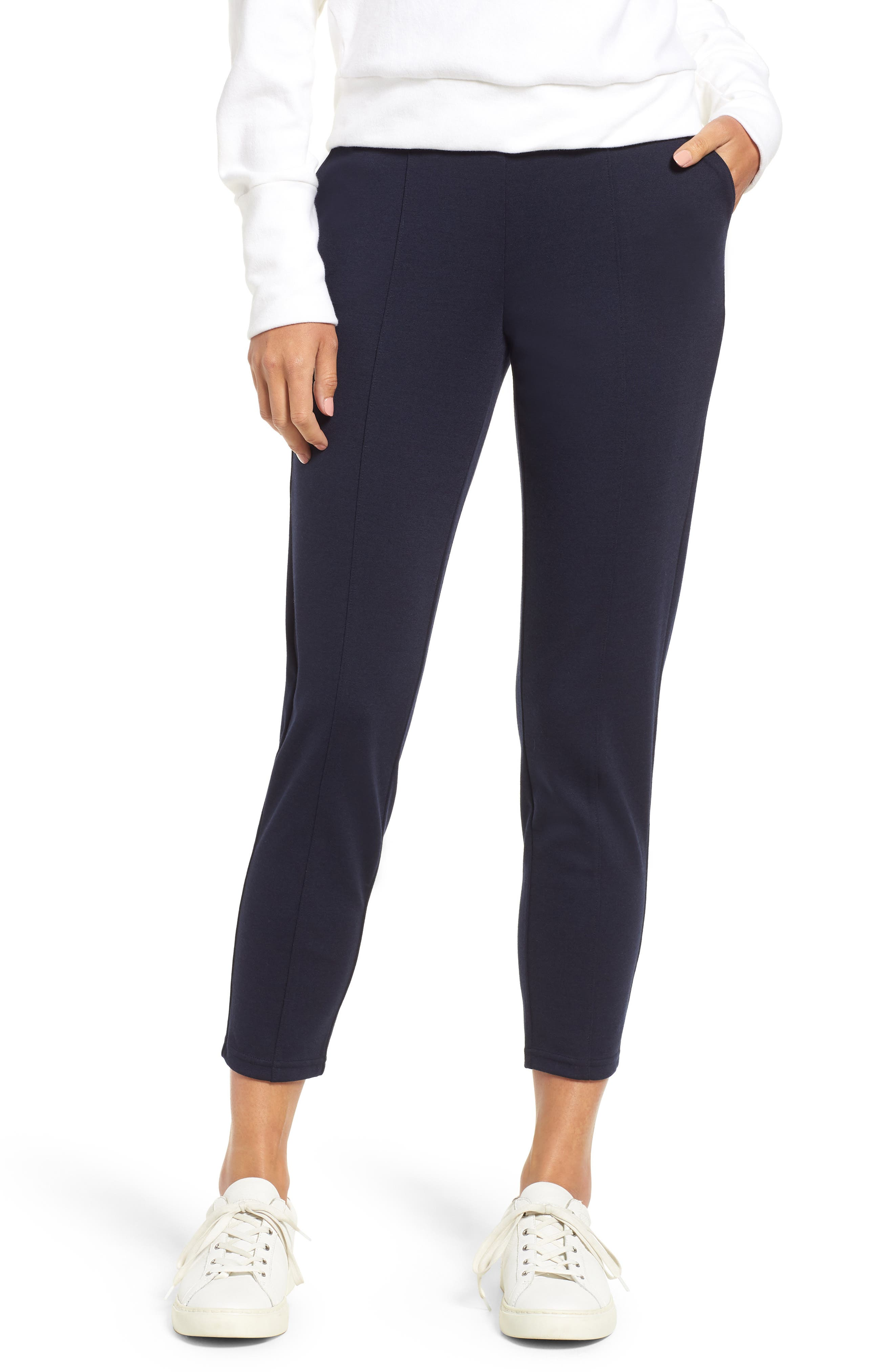 Luxe Seamed Ponte Skimmer Leggings,                             Main thumbnail 1, color,                             NAVY