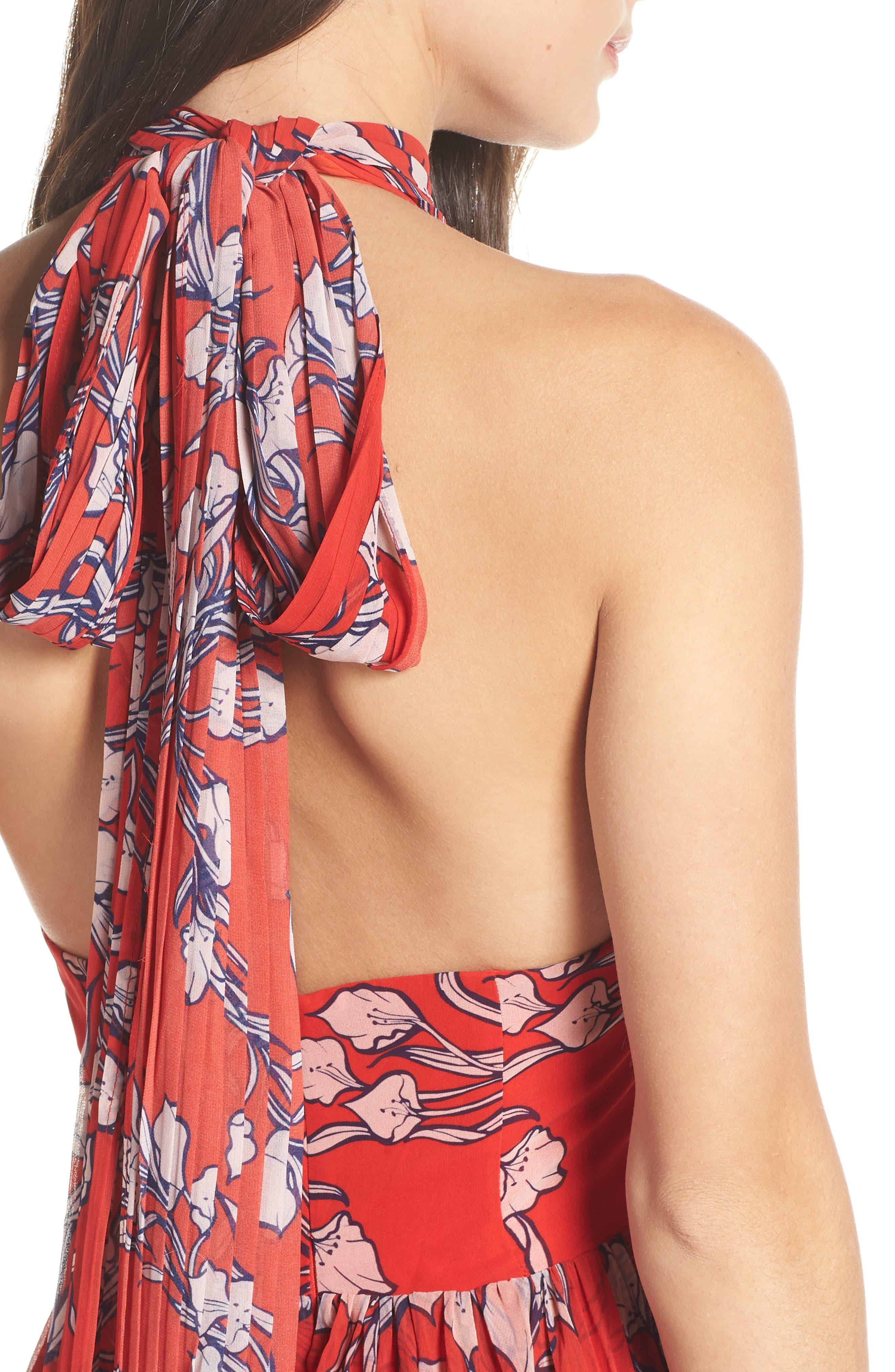 The Zora Chiffon Evening Dress,                             Alternate thumbnail 4, color,                             NOUVEAU FLORAL SUNSET