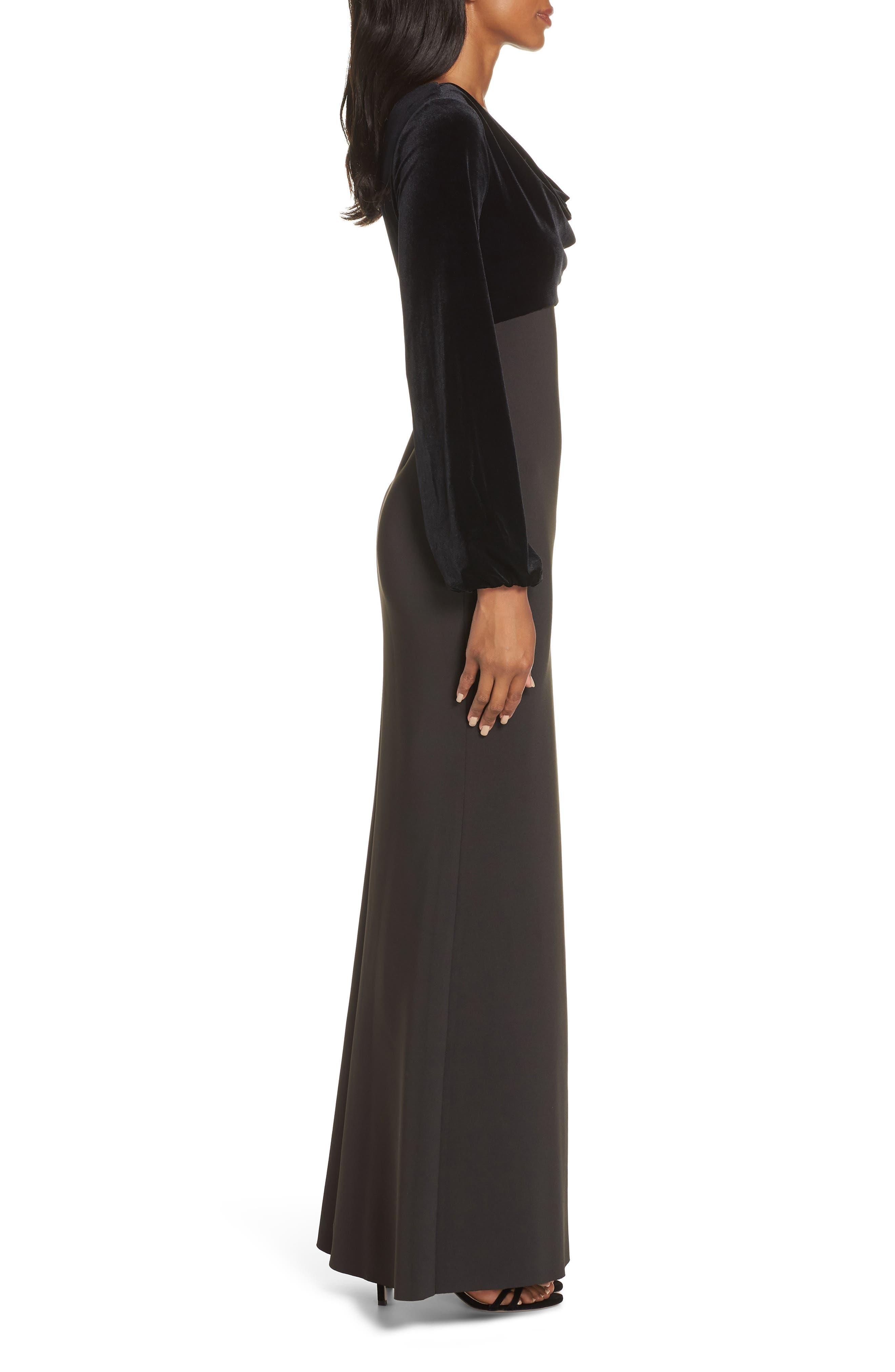 Cowl Neck Mermaid Gown,                             Alternate thumbnail 3, color,                             BLACK