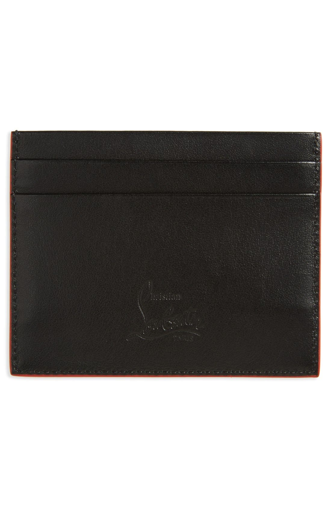 'Kios' Spiked Calfskin Leather Card Case,                             Alternate thumbnail 2, color,                             001