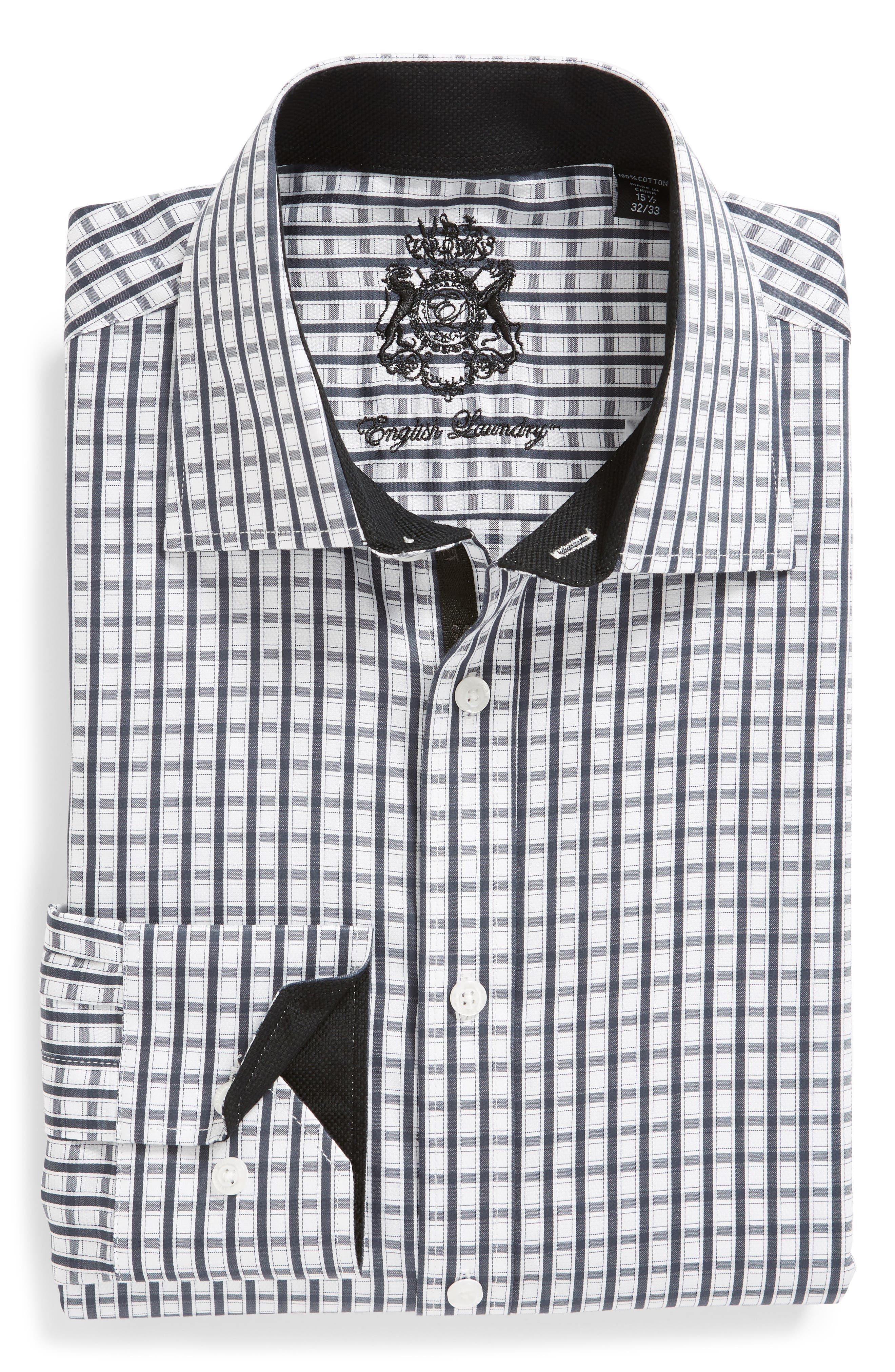 Regular Fit Check Dress Shirt,                             Alternate thumbnail 5, color,                             BLACK