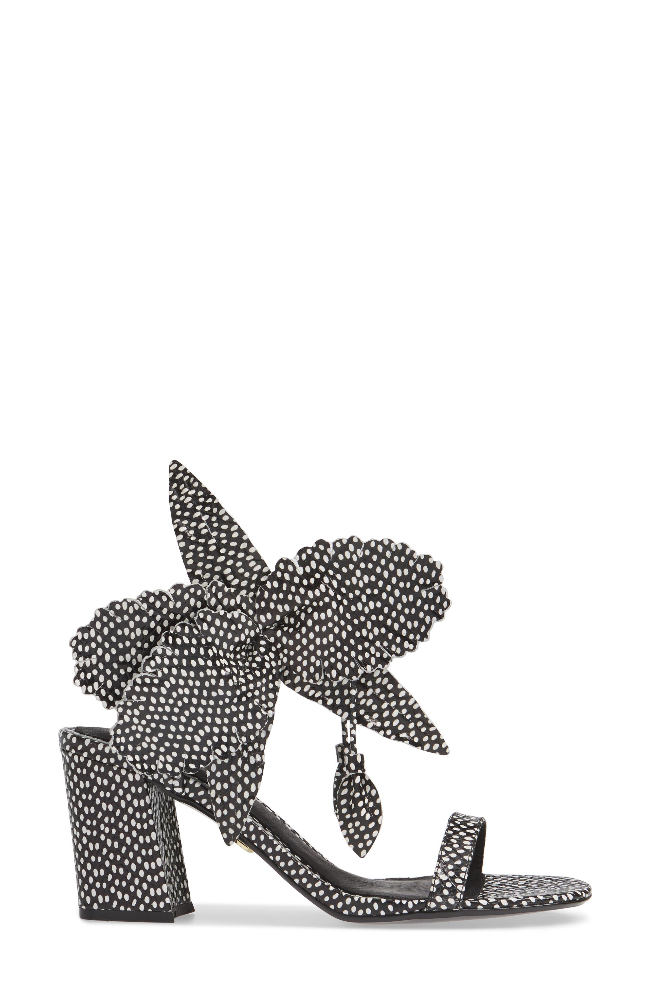 CECELIA NEW YORK,                             Hibiscus Sandal,                             Alternate thumbnail 3, color,                             BLACK AND WHITE DOT