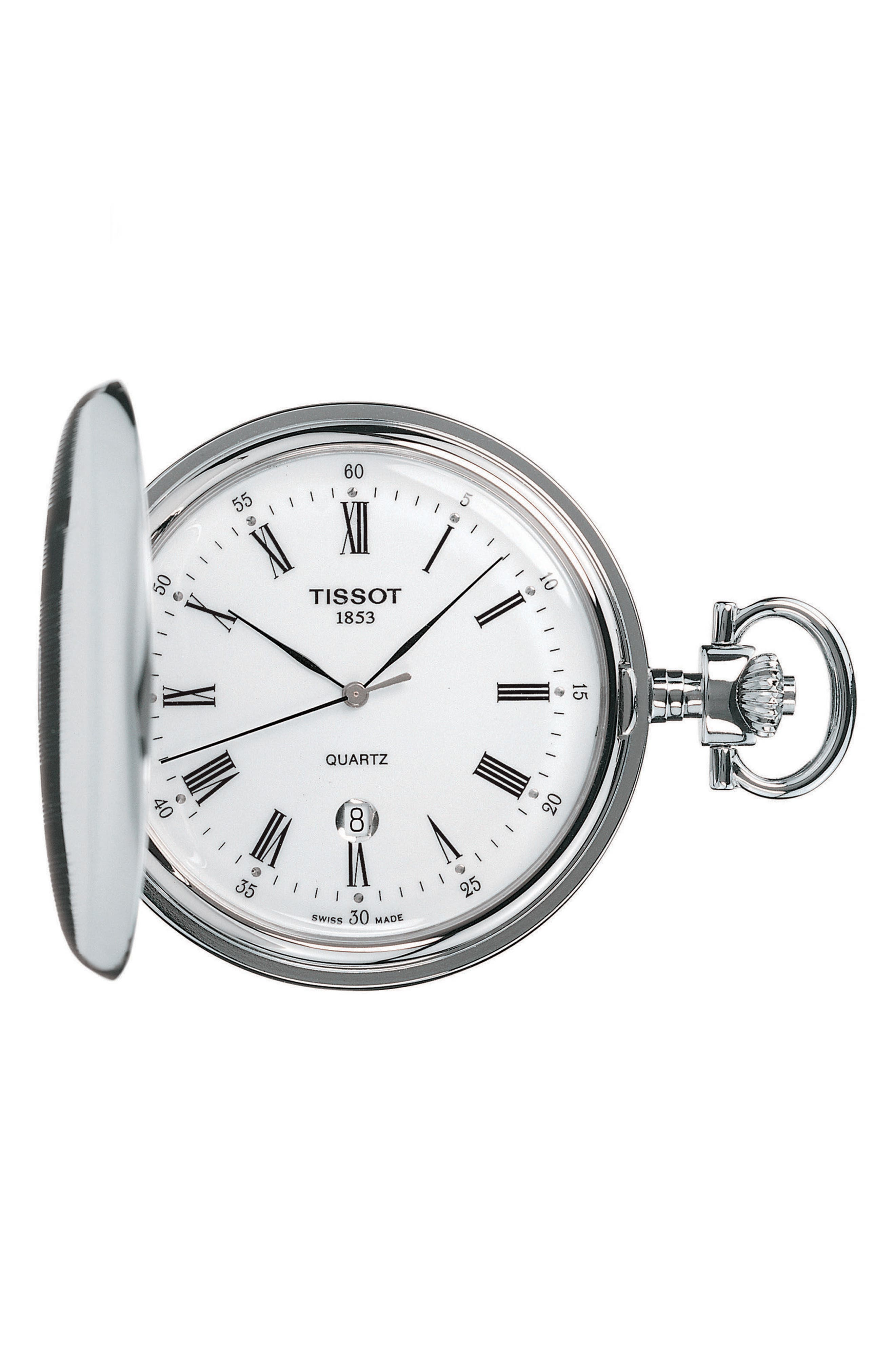 Savonnette Pocket Watch, 48mm,                             Main thumbnail 1, color,                             SILVER/ WHITE