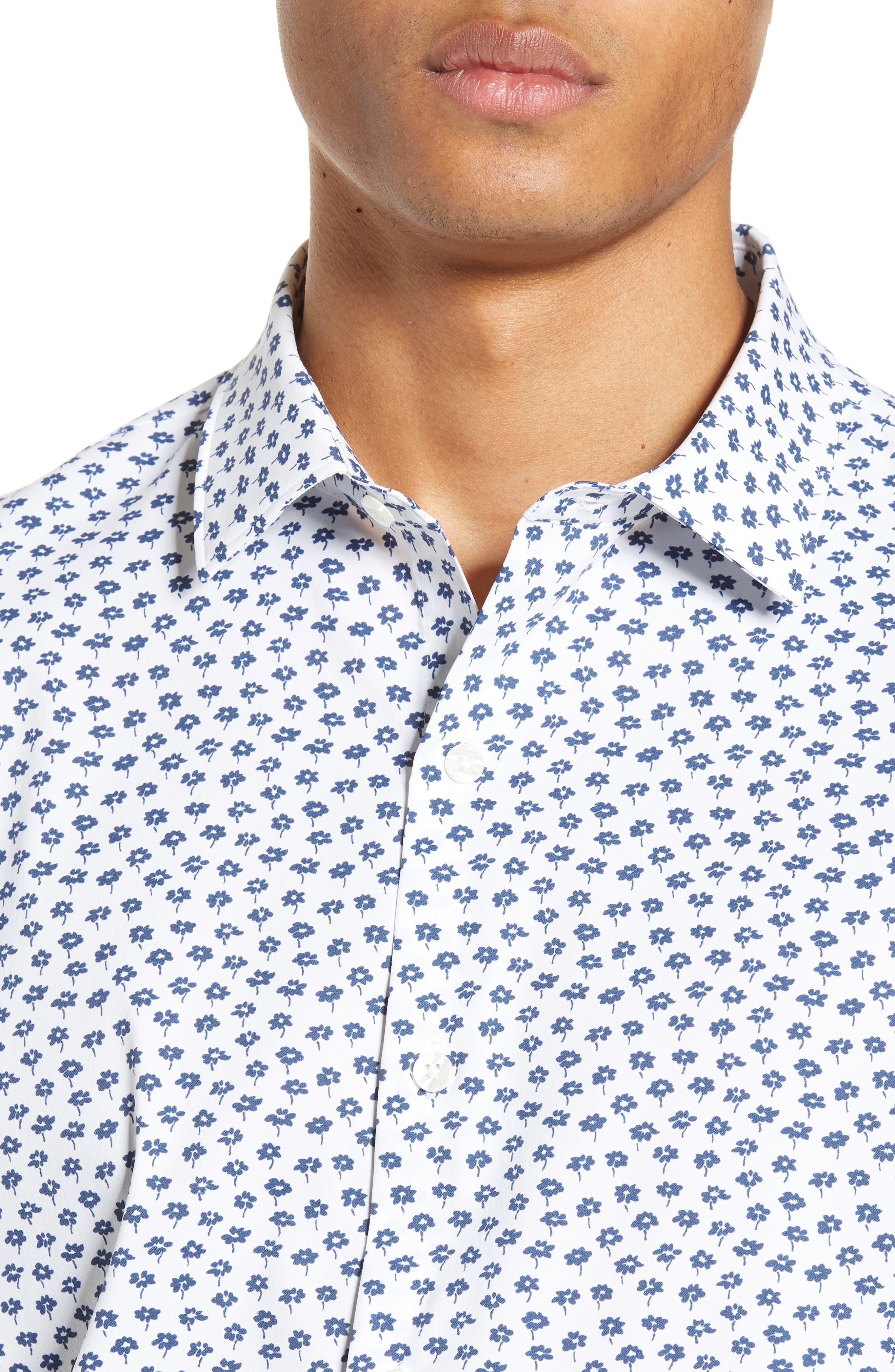 Slim Fit Floral Tech Sport Shirt,                             Alternate thumbnail 2, color,                             FLORAL STAMP - PEACOCK