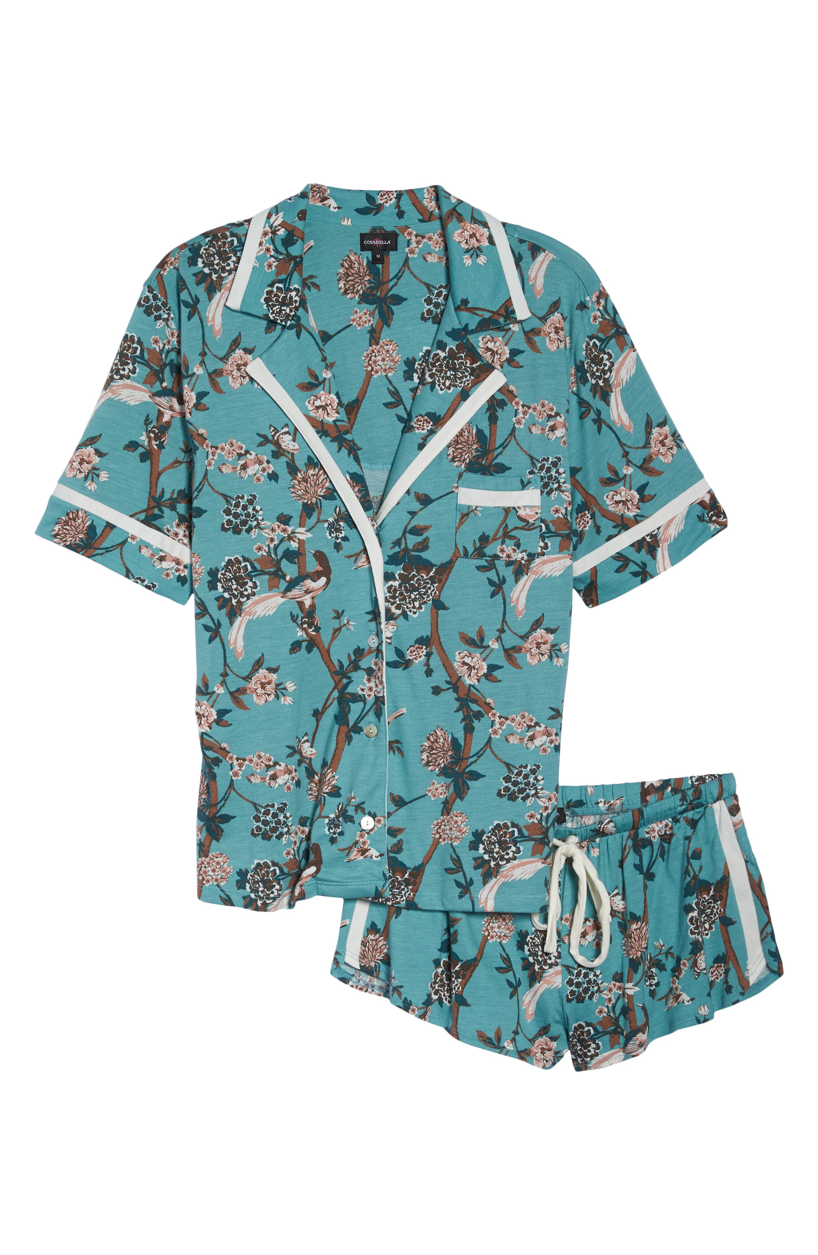 Bella Print Short Pajamas,                             Alternate thumbnail 6, color,                             OPHELIA/ MOON IVORY
