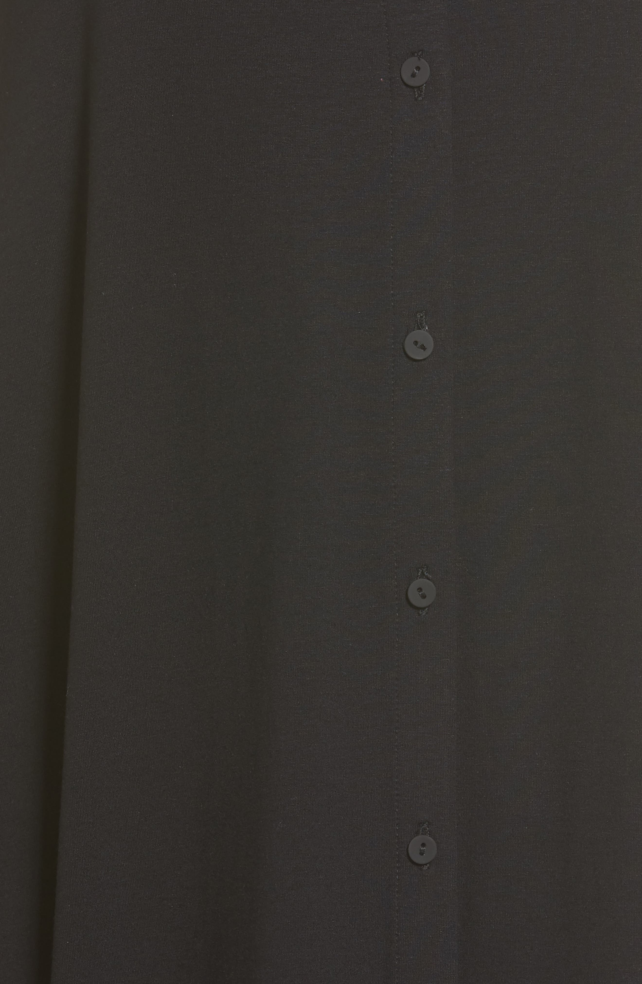 EILEEN FISHER,                             Jersey Mandarin Collar Duster Dress,                             Alternate thumbnail 5, color,                             001
