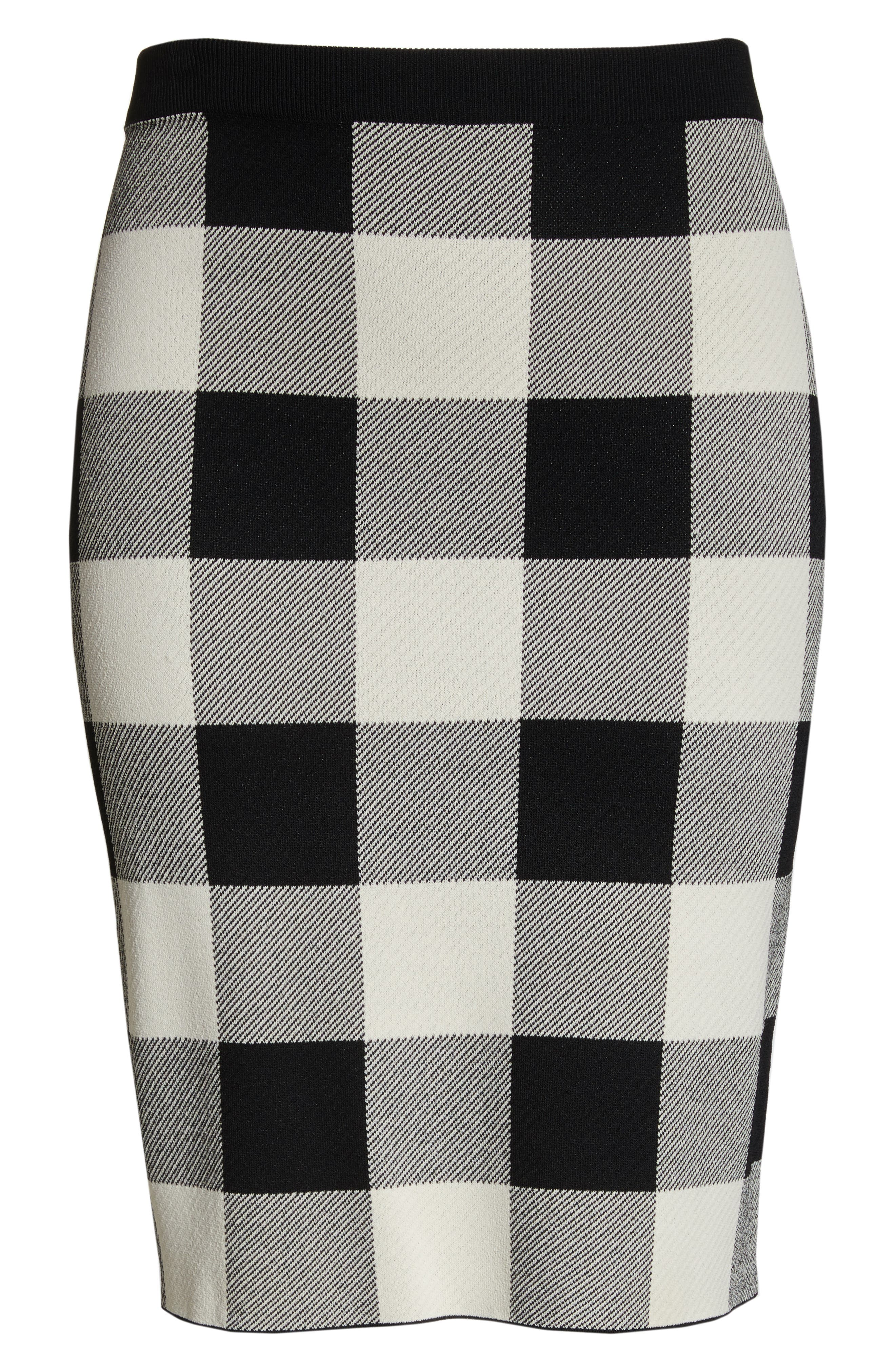 RACHEL RACHEL ROY,                             Raj Sweater Skirt,                             Alternate thumbnail 6, color,                             BLACK/CREAM
