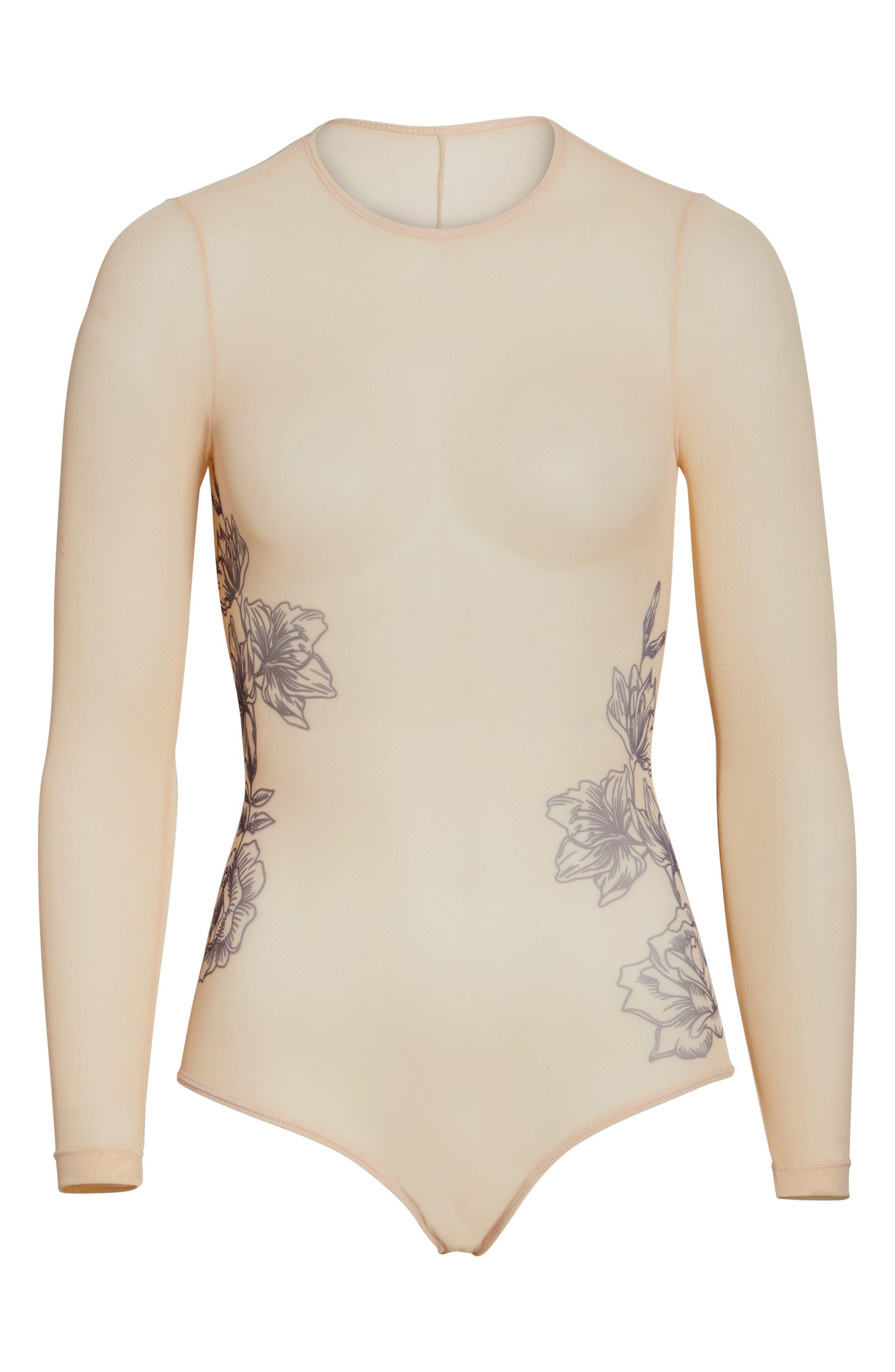 Stephanie Sparrow Mesh Bodysuit,                             Alternate thumbnail 5, color,