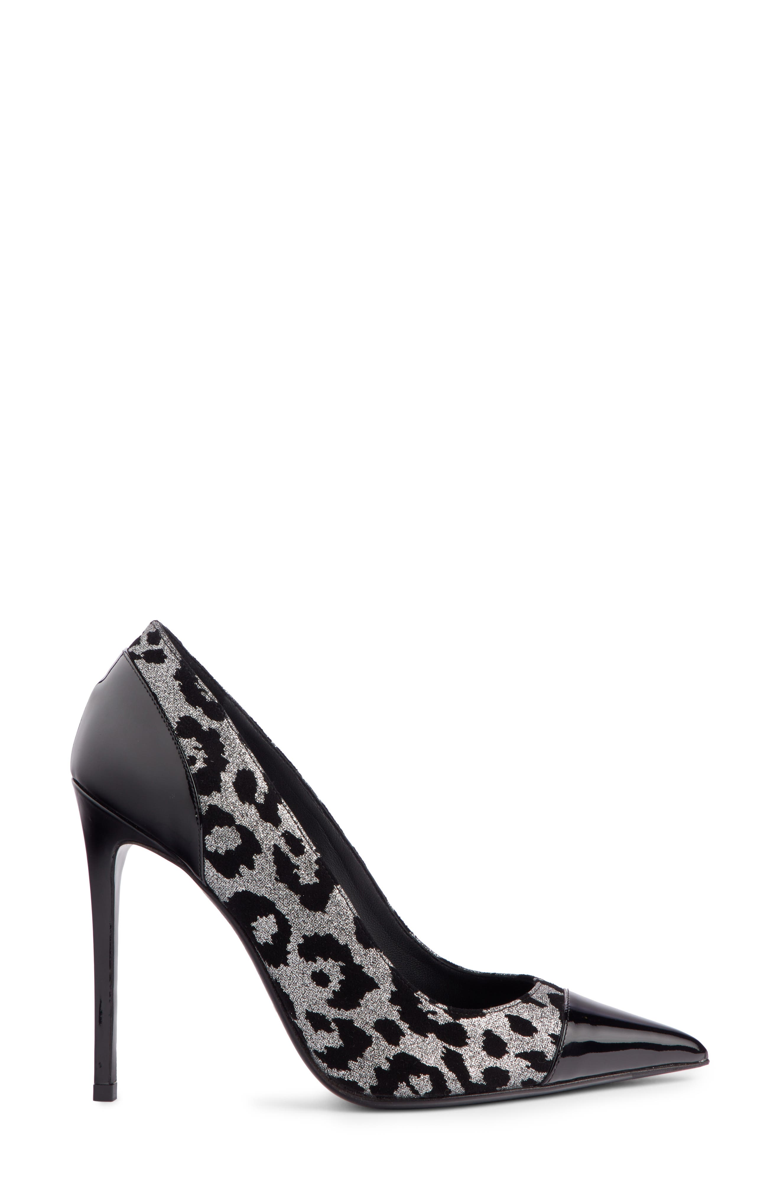 Daphne Leopard Print Pointy Toe Pump,                             Alternate thumbnail 3, color,                             BLACK/ SILVER