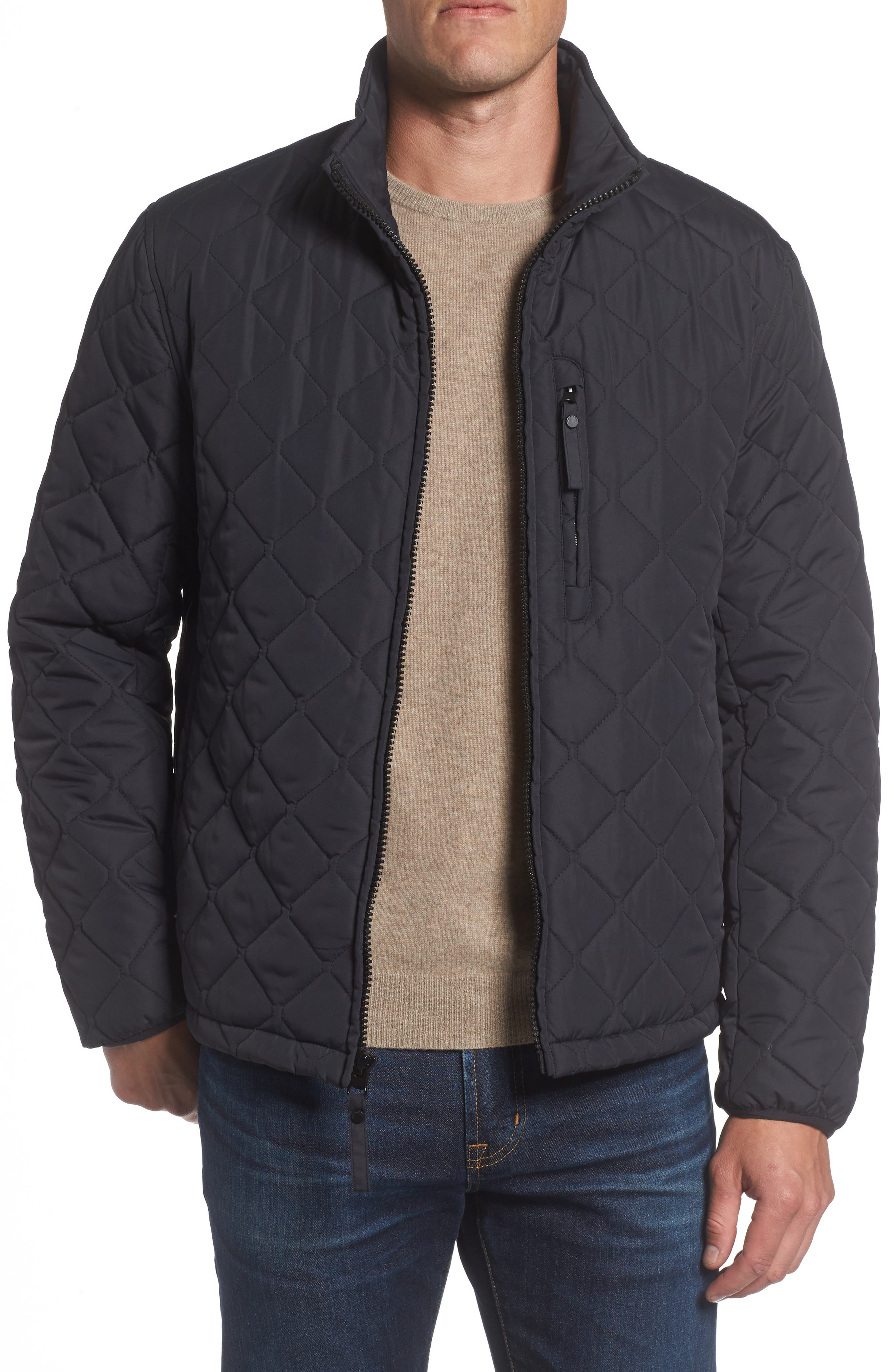 Faux Shearling Lined Quilted Jacket,                             Main thumbnail 1, color,                             001
