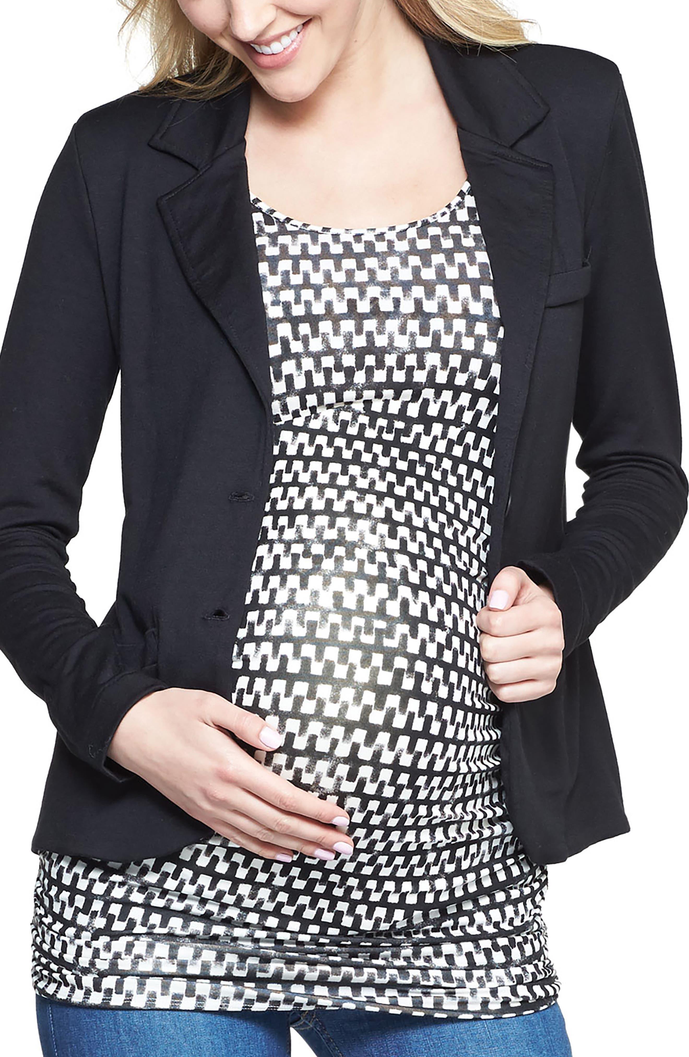 'Essential' Maternity Blazer,                             Main thumbnail 1, color,                             BLACK