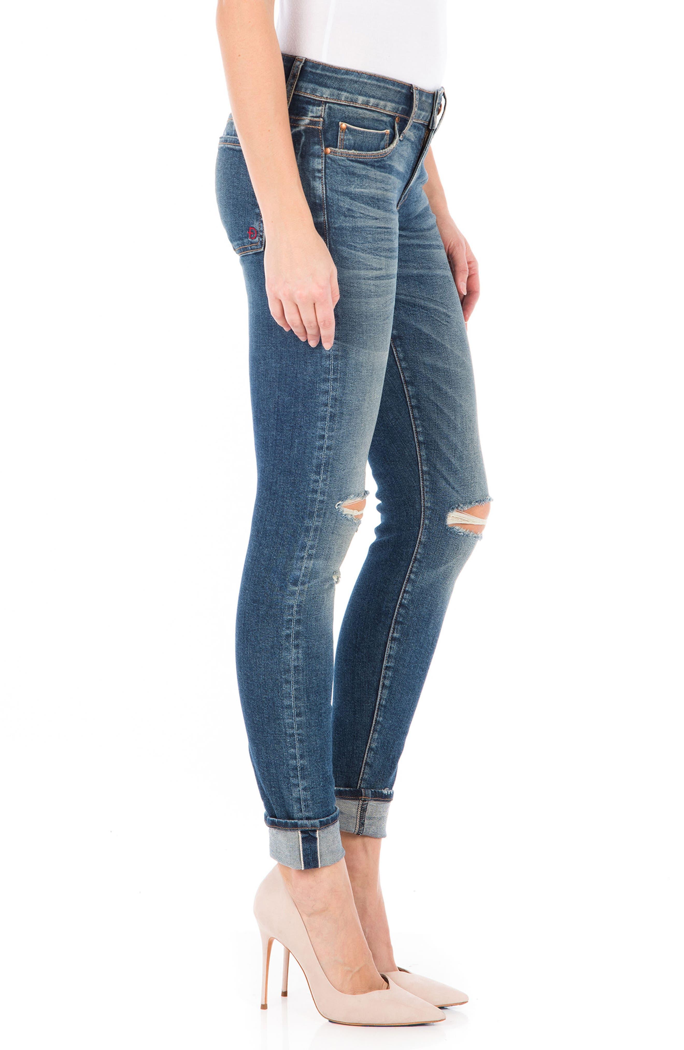 Mila Selvedge Ankle Skinny Jeans,                             Alternate thumbnail 3, color,                             400