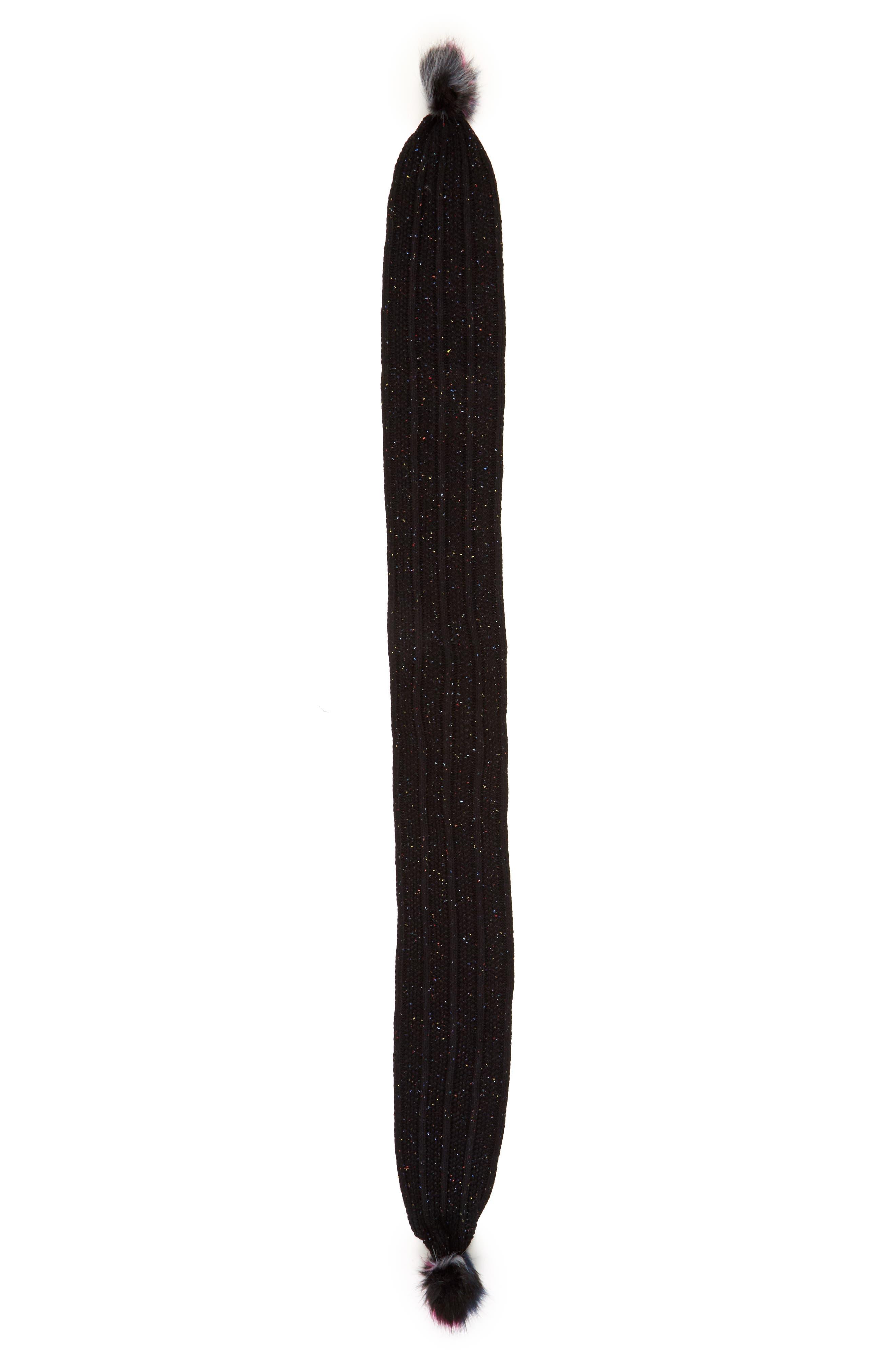 Faux Fur Pompom Knit Beanie & Scarf,                             Alternate thumbnail 4, color,
