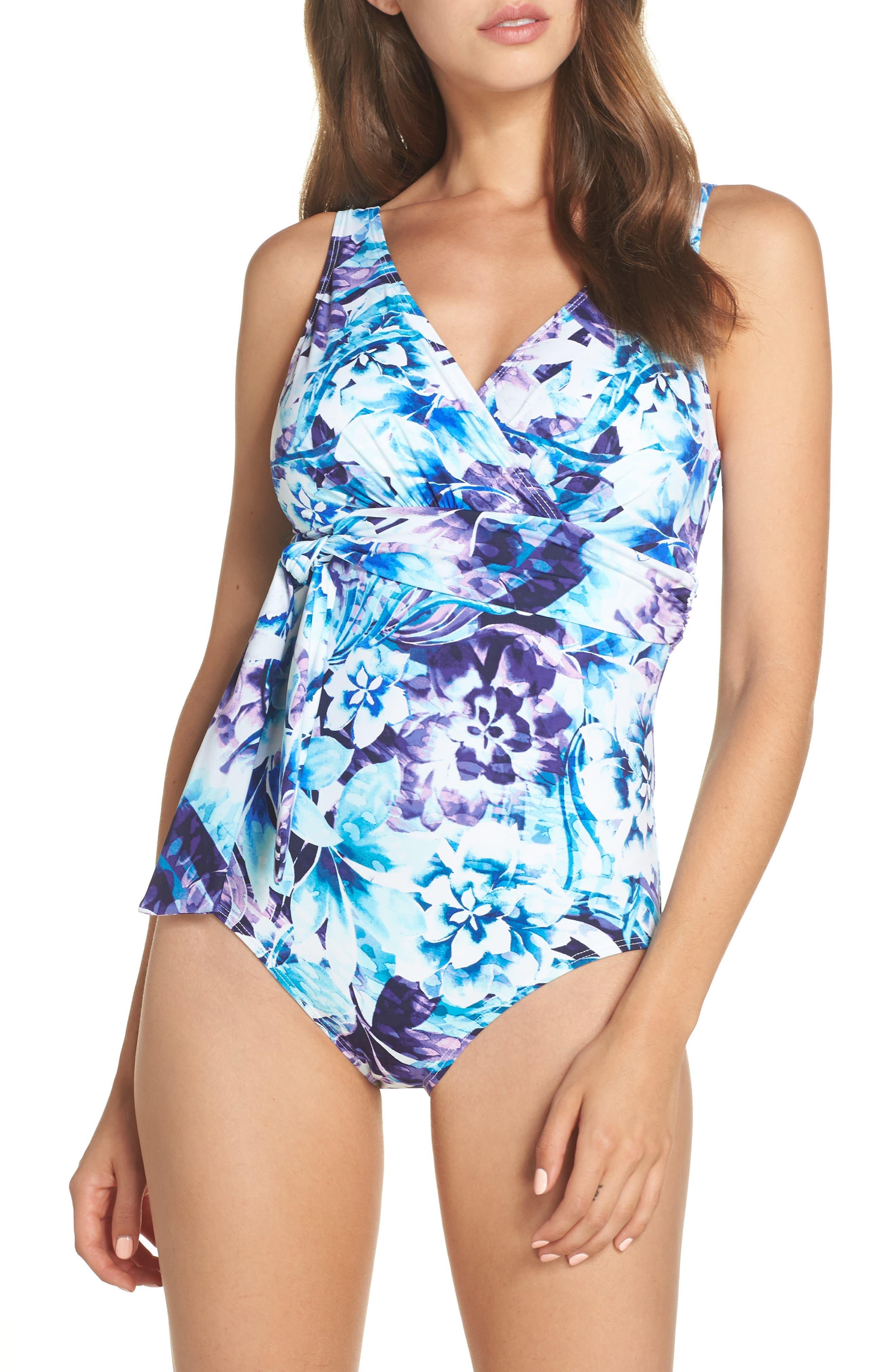 TOMMY BAHAMA,                             Sculpt Aqua Petals One-Piece Swimsuit,                             Main thumbnail 1, color,                             WHITE