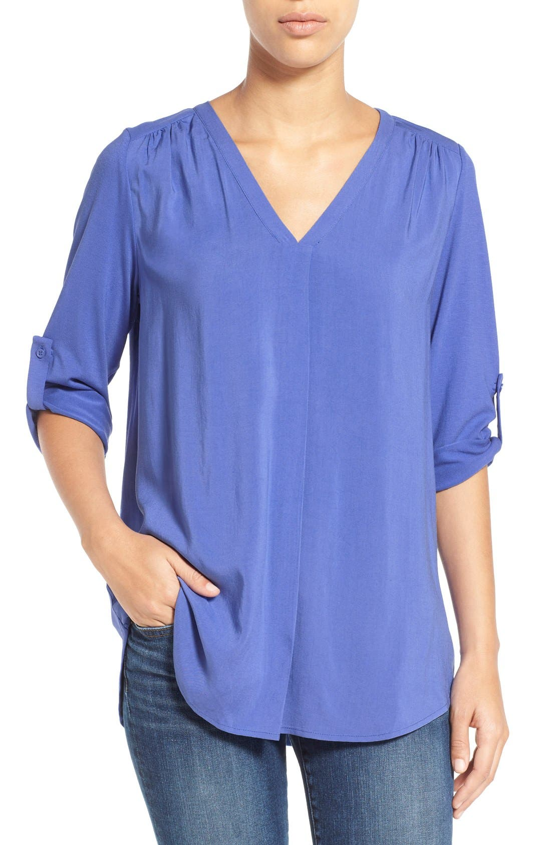 Mixed Media V-Neck Tunic,                             Main thumbnail 15, color,