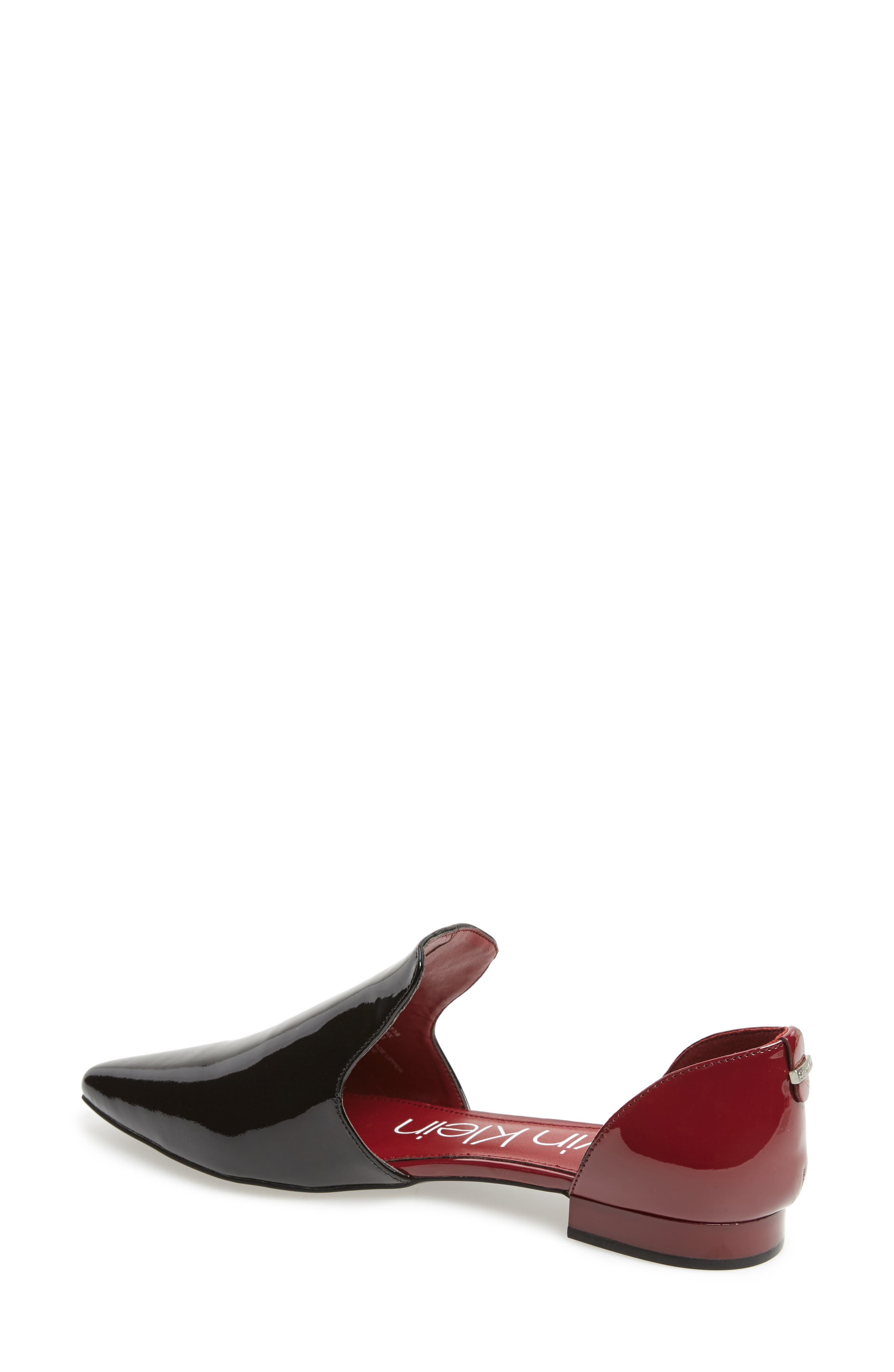 Edona Loafer Flat,                             Alternate thumbnail 2, color,                             BLACK/ RED ROCK PATENT