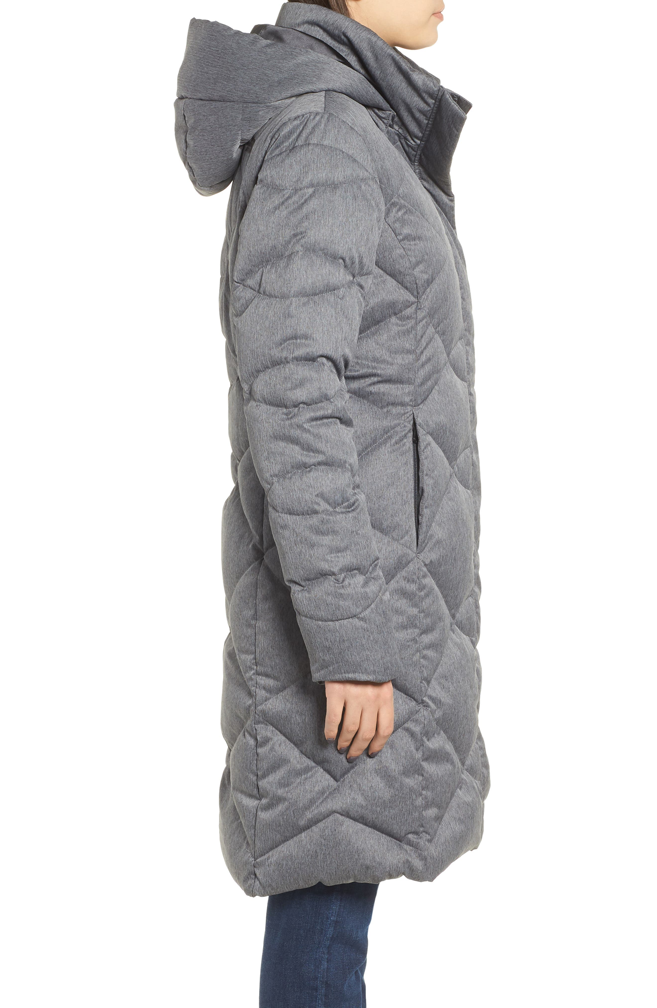 Miss Metro II Water Repellent 550 Fill Power Down Hooded Parka,                             Alternate thumbnail 4, color,                             TNF DARK GREY HEATHER