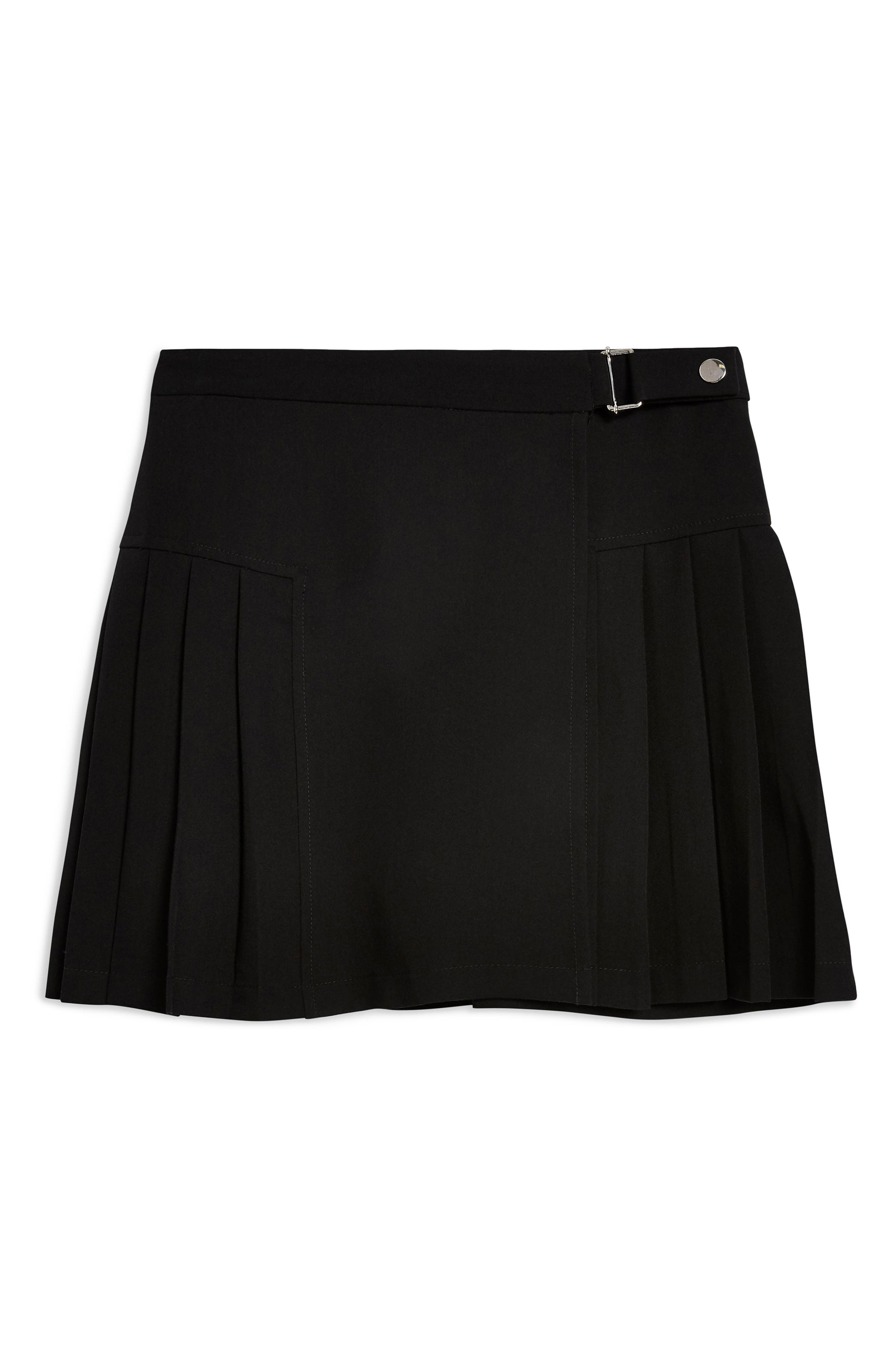 Petite Popper Tab Kilt Skirt,                             Alternate thumbnail 3, color,                             BLACK