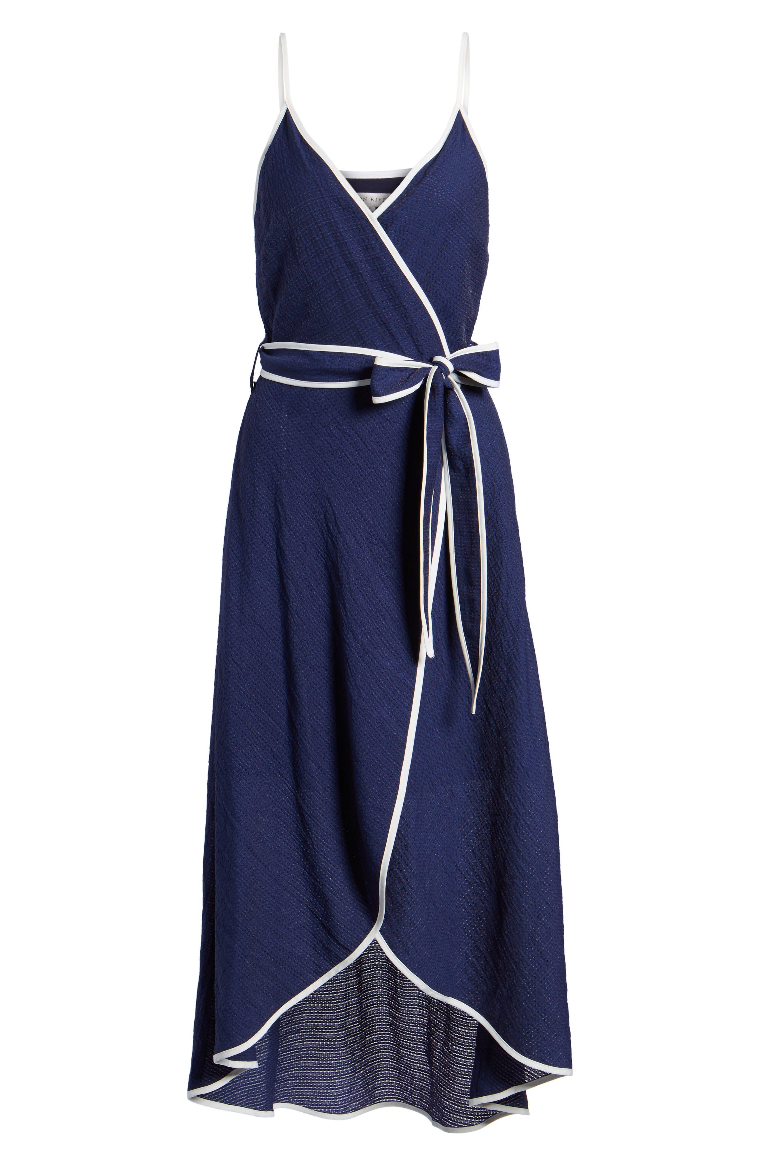 Midi Wrap Style Dress,                             Alternate thumbnail 6, color,