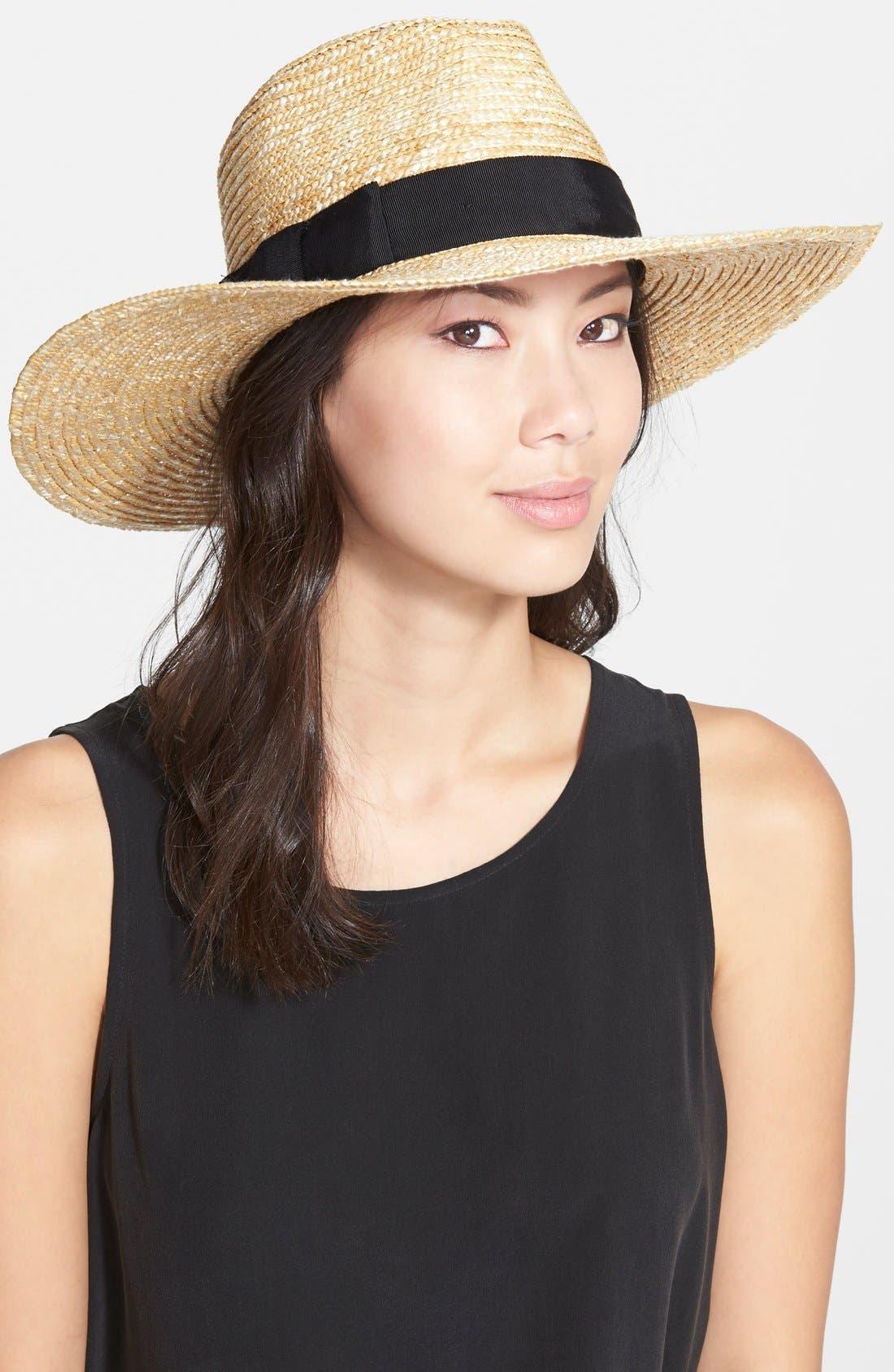 'Joanna' Straw Hat,                             Main thumbnail 1, color,                             HONEY