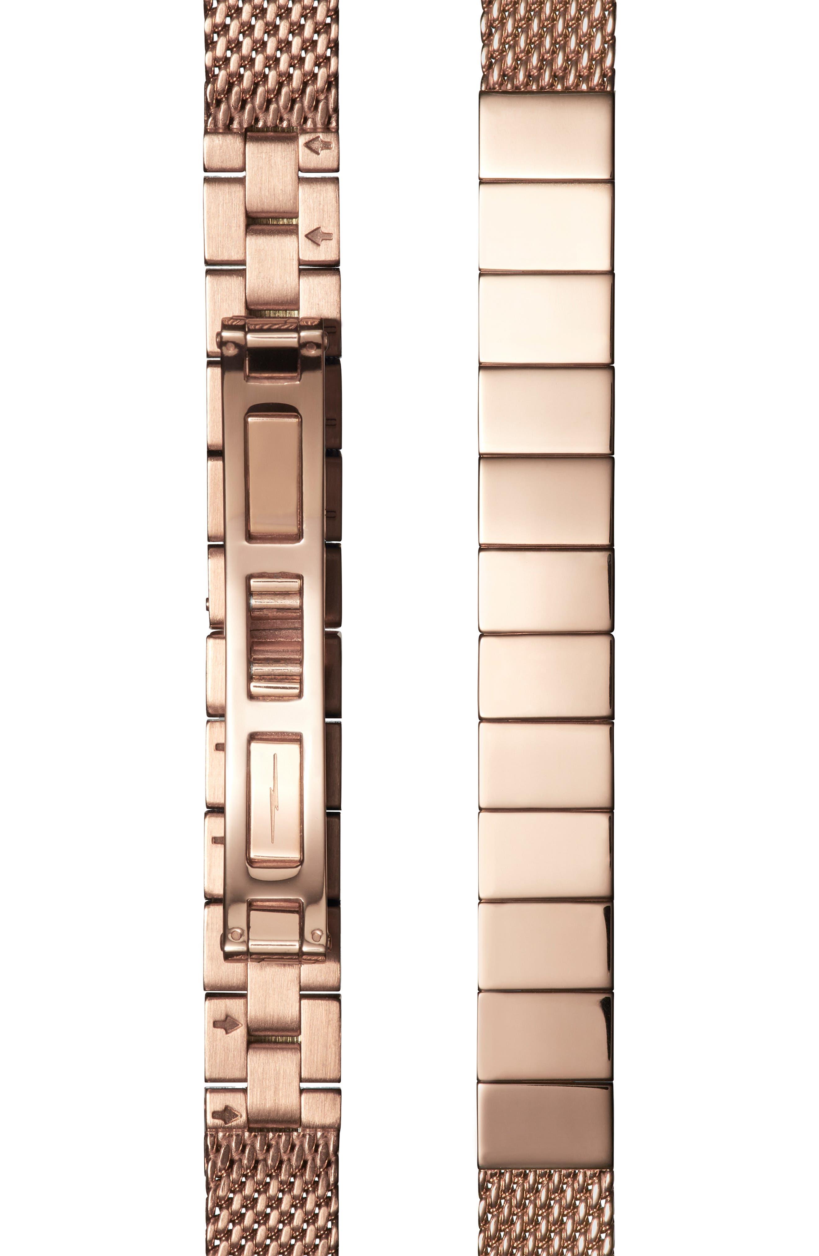 Birdy Mesh Bracelet Watch, 34mm,                             Alternate thumbnail 4, color,                             ROSE GOLD/ WHITE/ ROSE GOLD