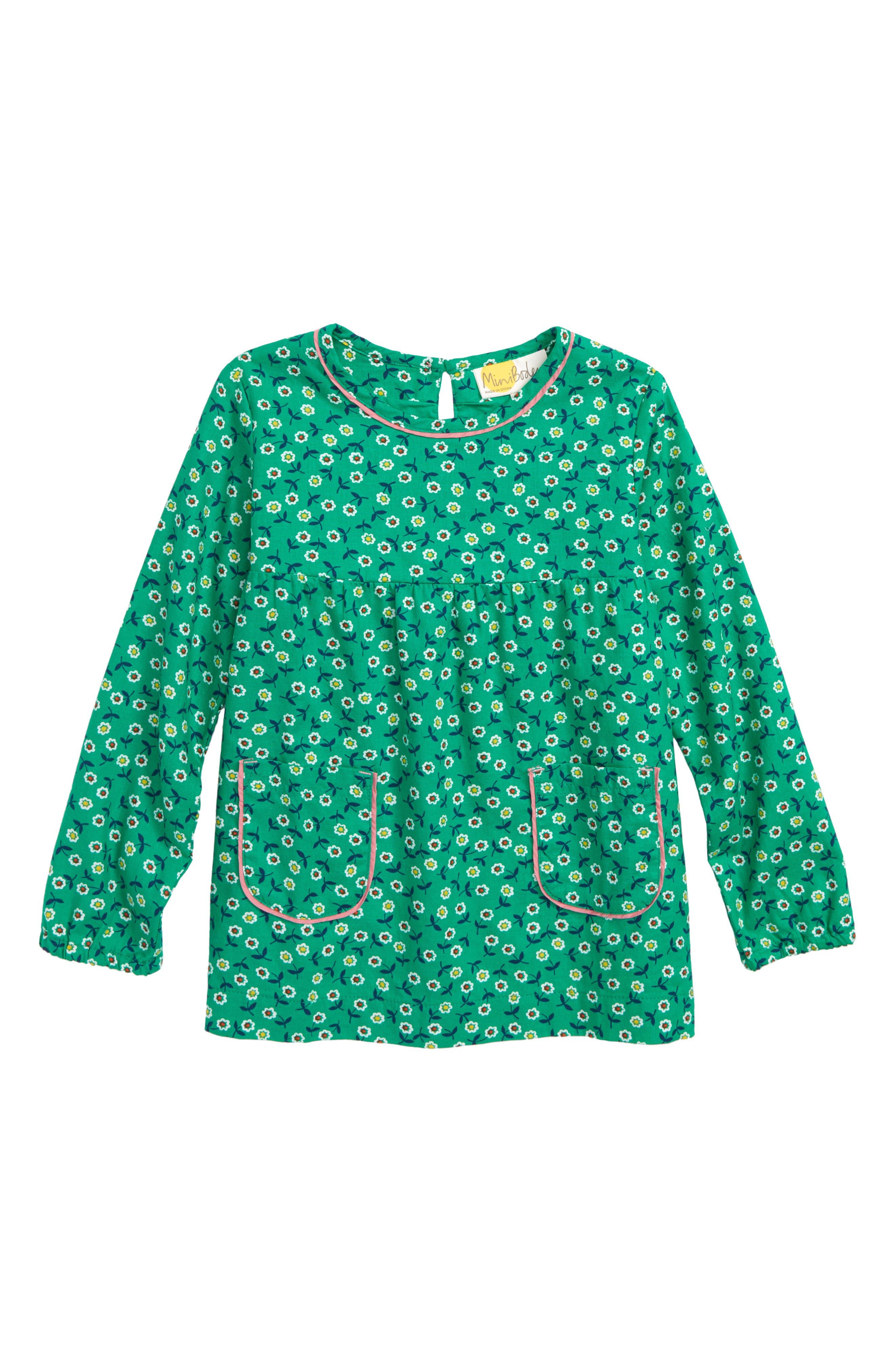 Floaty Woven Tunic,                         Main,                         color, GREEN PEPPER RETRO DAISIES