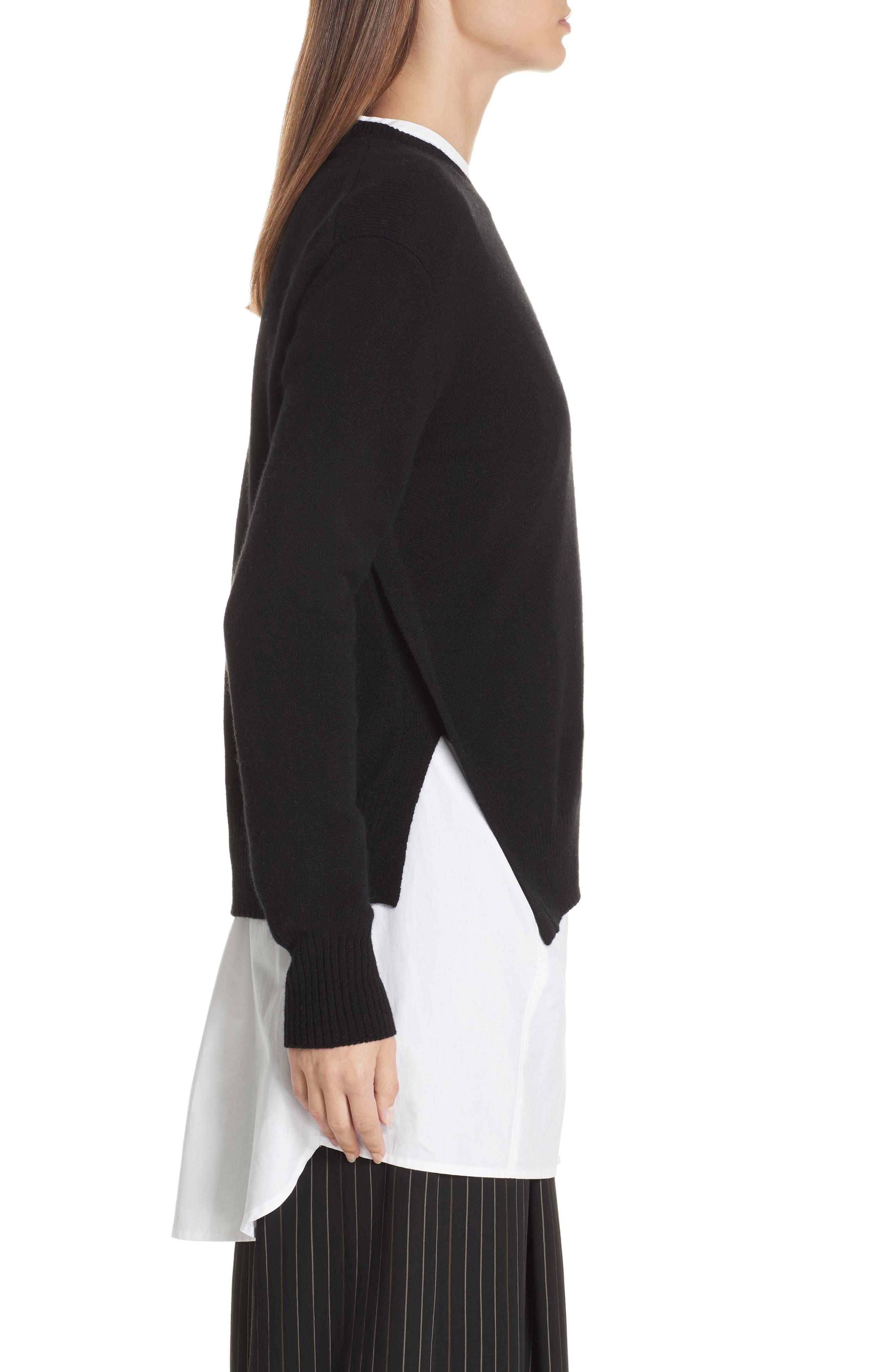Asymmetrical Cashmere Sweater,                             Alternate thumbnail 3, color,                             BLACK