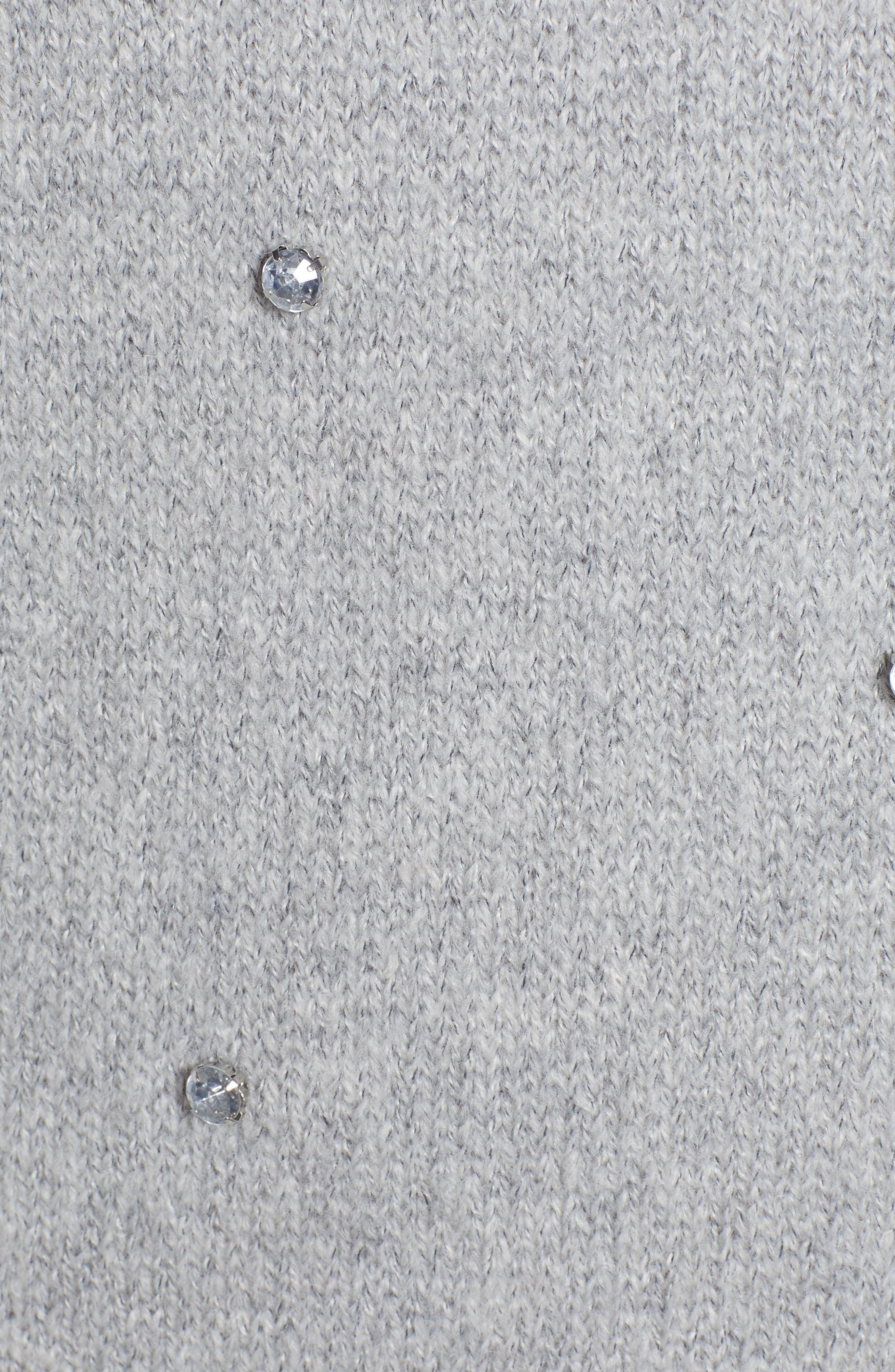 Embellished Ruffle Neck Sweater,                             Alternate thumbnail 5, color,                             GREY LIGHT HEATHER