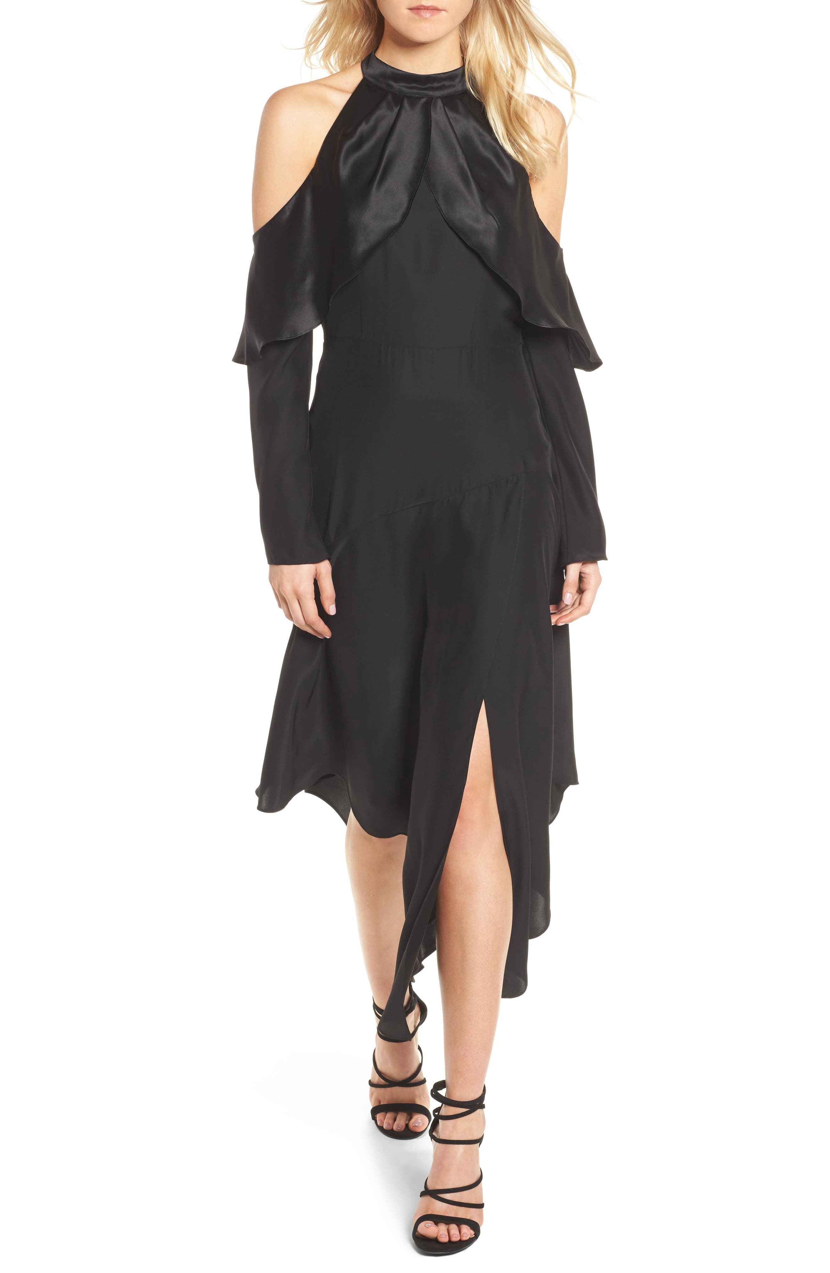 Tanya Cold Shoulder Silk Dress,                             Main thumbnail 1, color,                             001