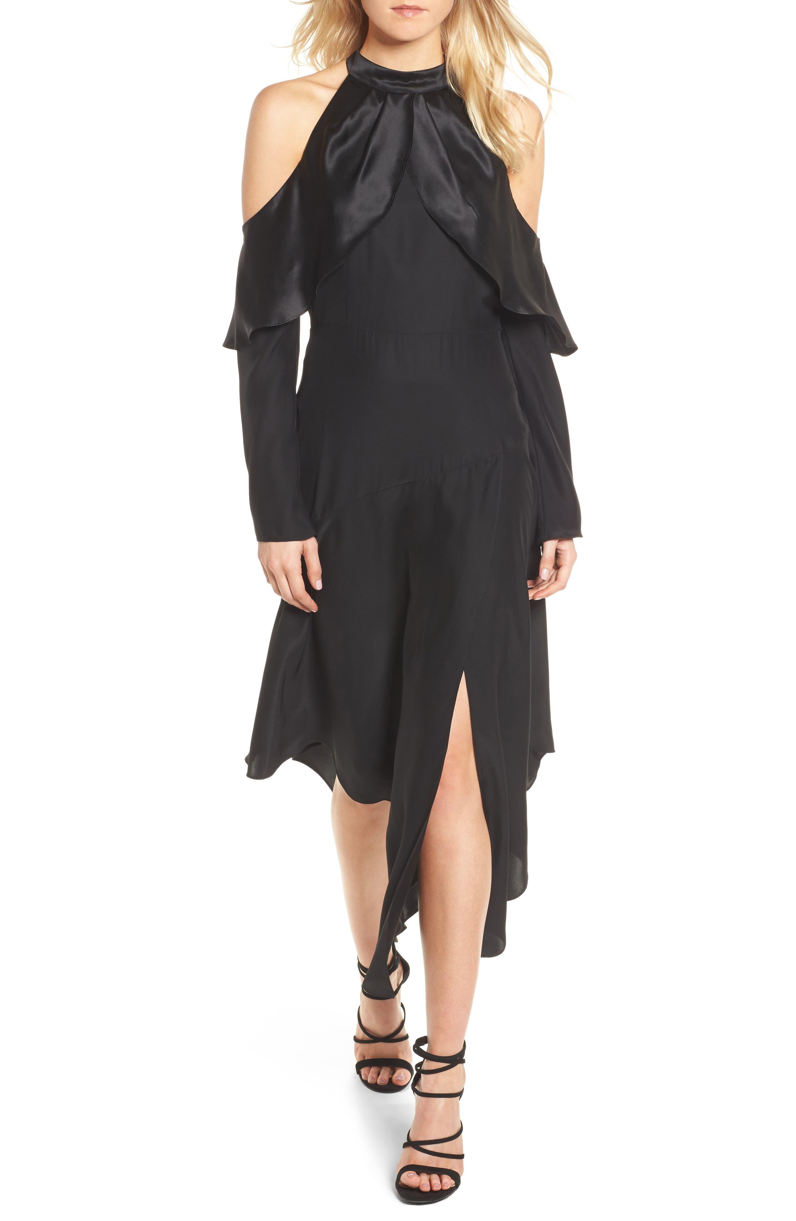 Tanya Cold Shoulder Silk Dress,                         Main,                         color, 001