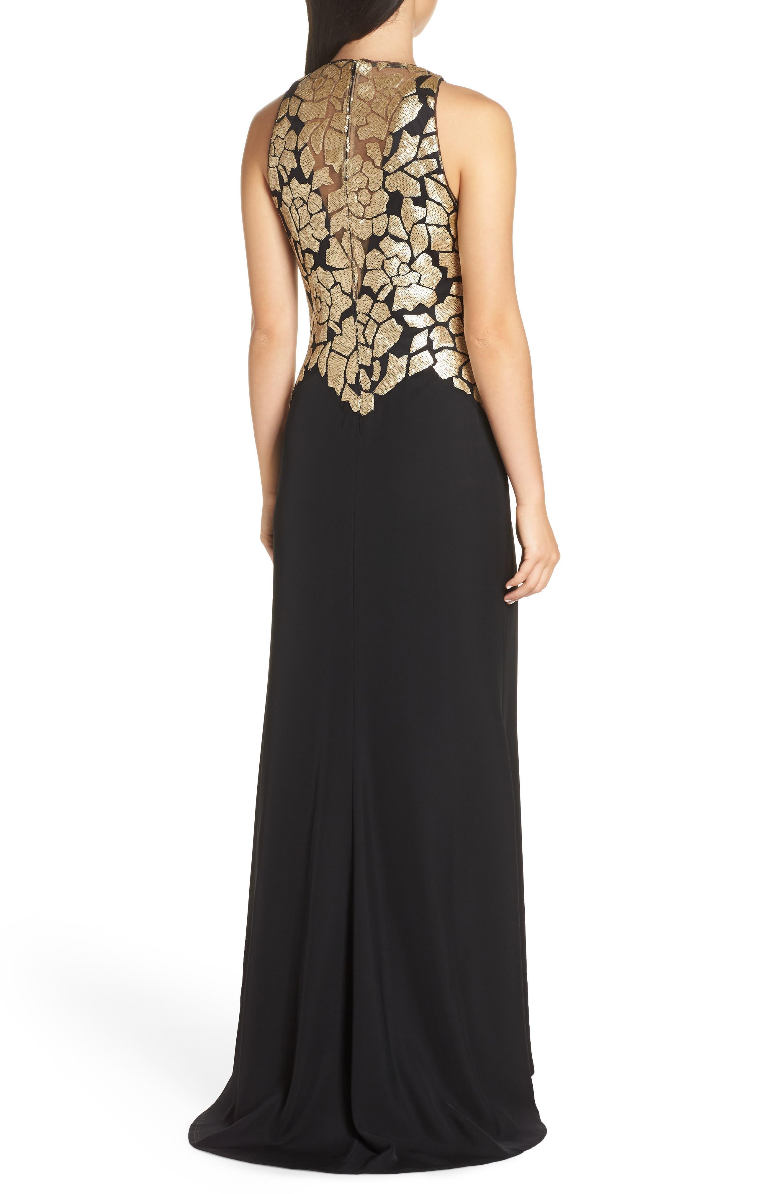 Sleeveless Sequin & Crepe Gown,                             Alternate thumbnail 2, color,                             BLACK/ GOLD