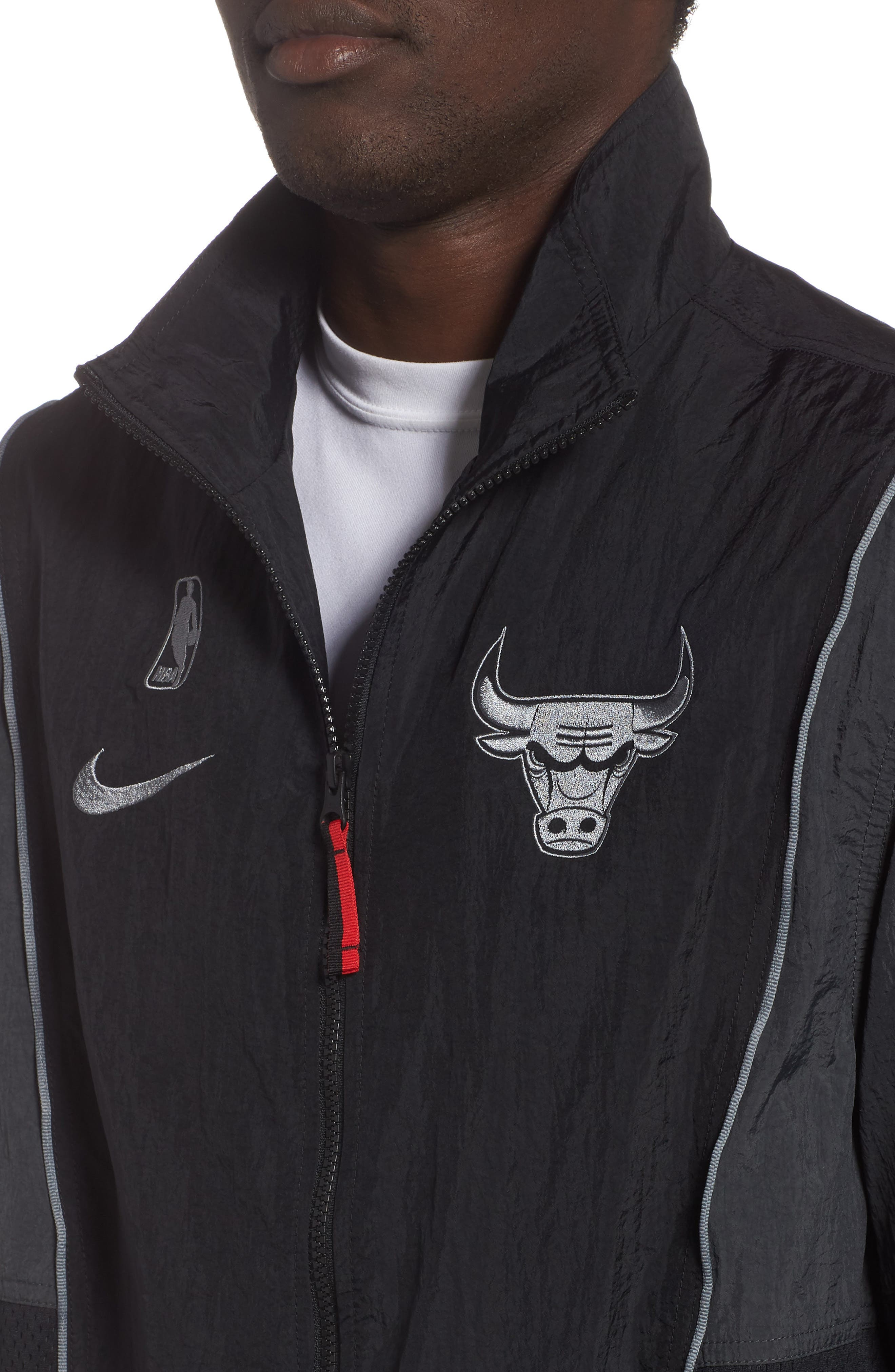Chicago Bulls Track Jacket,                             Alternate thumbnail 4, color,                             BLACK/ ANTHRACITE/ COOL GREY