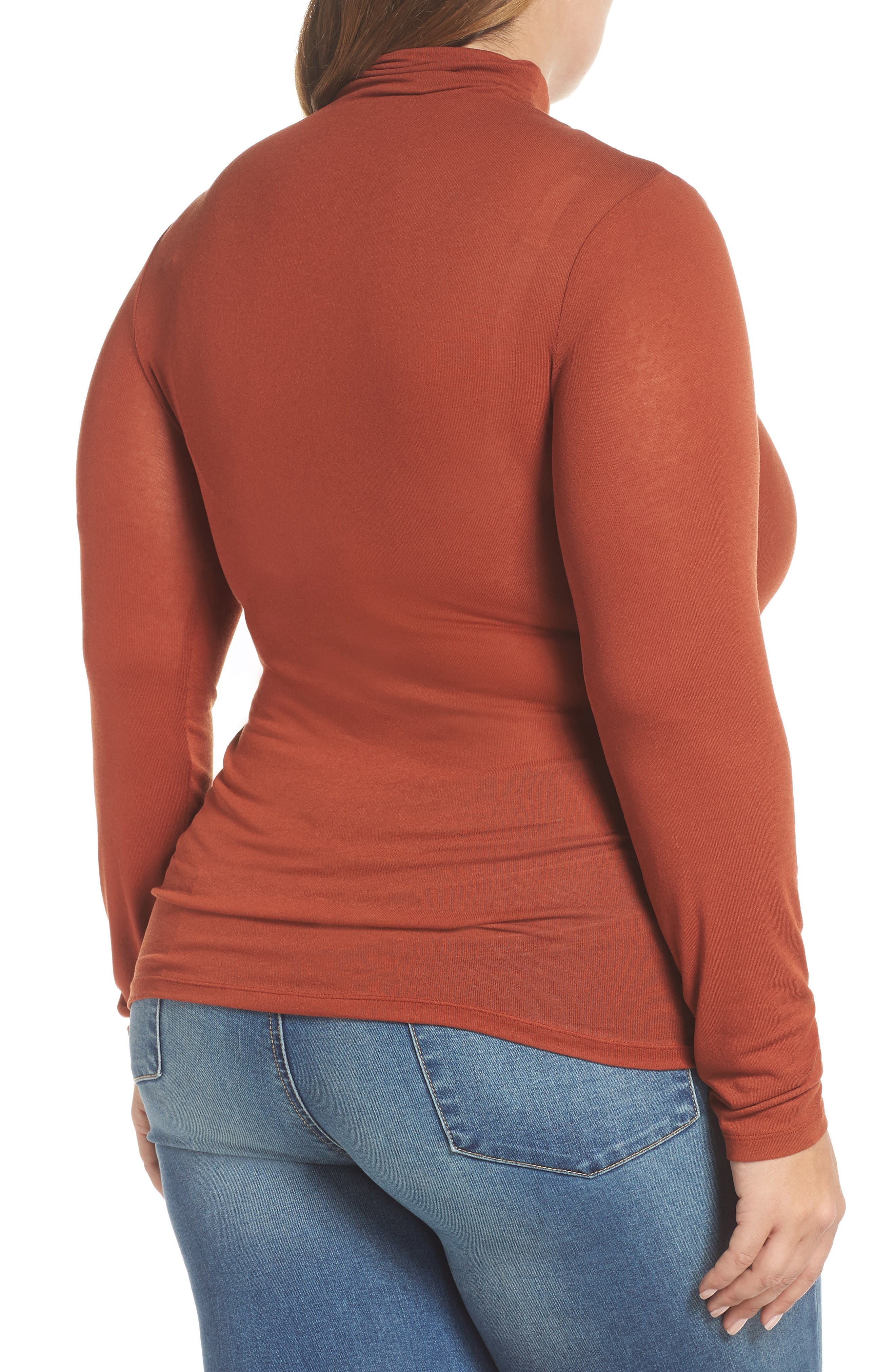 Lightweight Long Sleeve Funnel Neck Top,                             Alternate thumbnail 9, color,                             BROWN SPICE