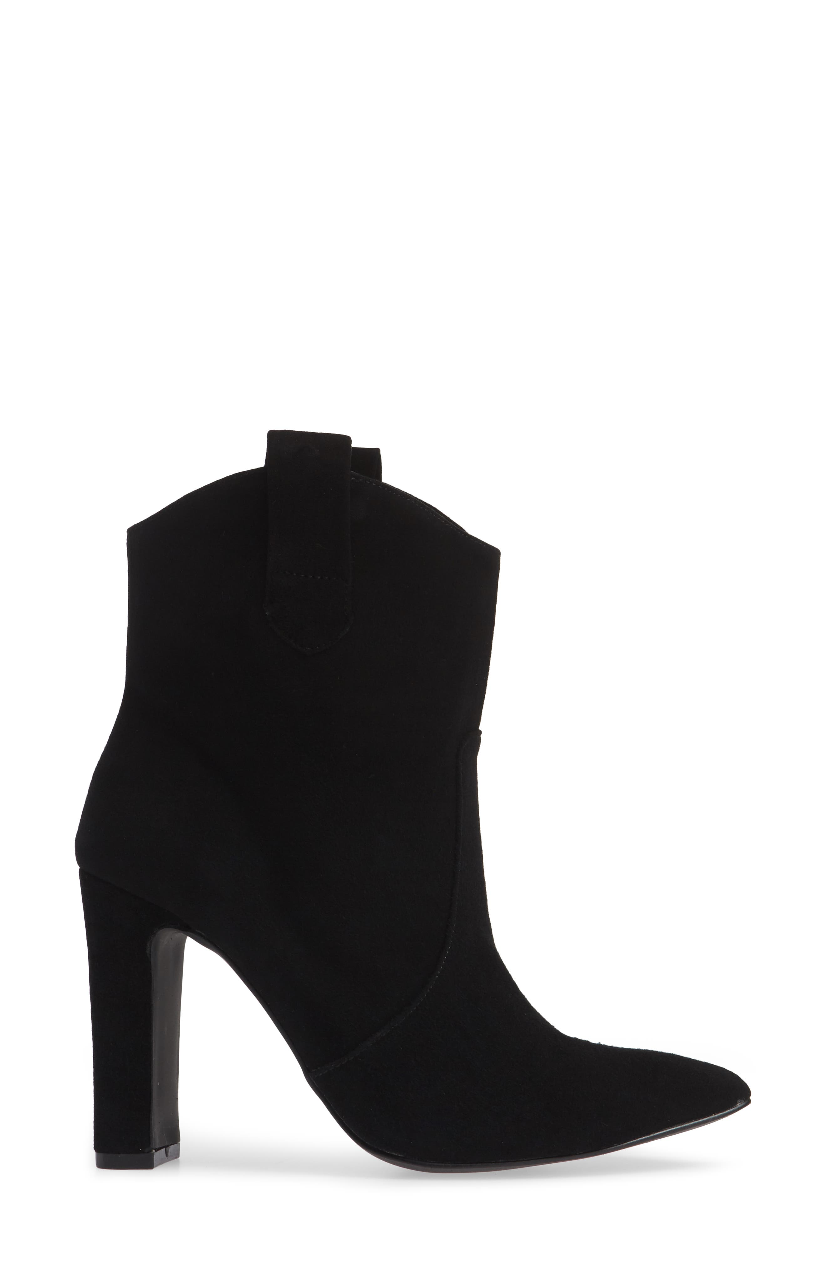 Karly Suede Bootie,                             Alternate thumbnail 3, color,                             BLACK SUEDE