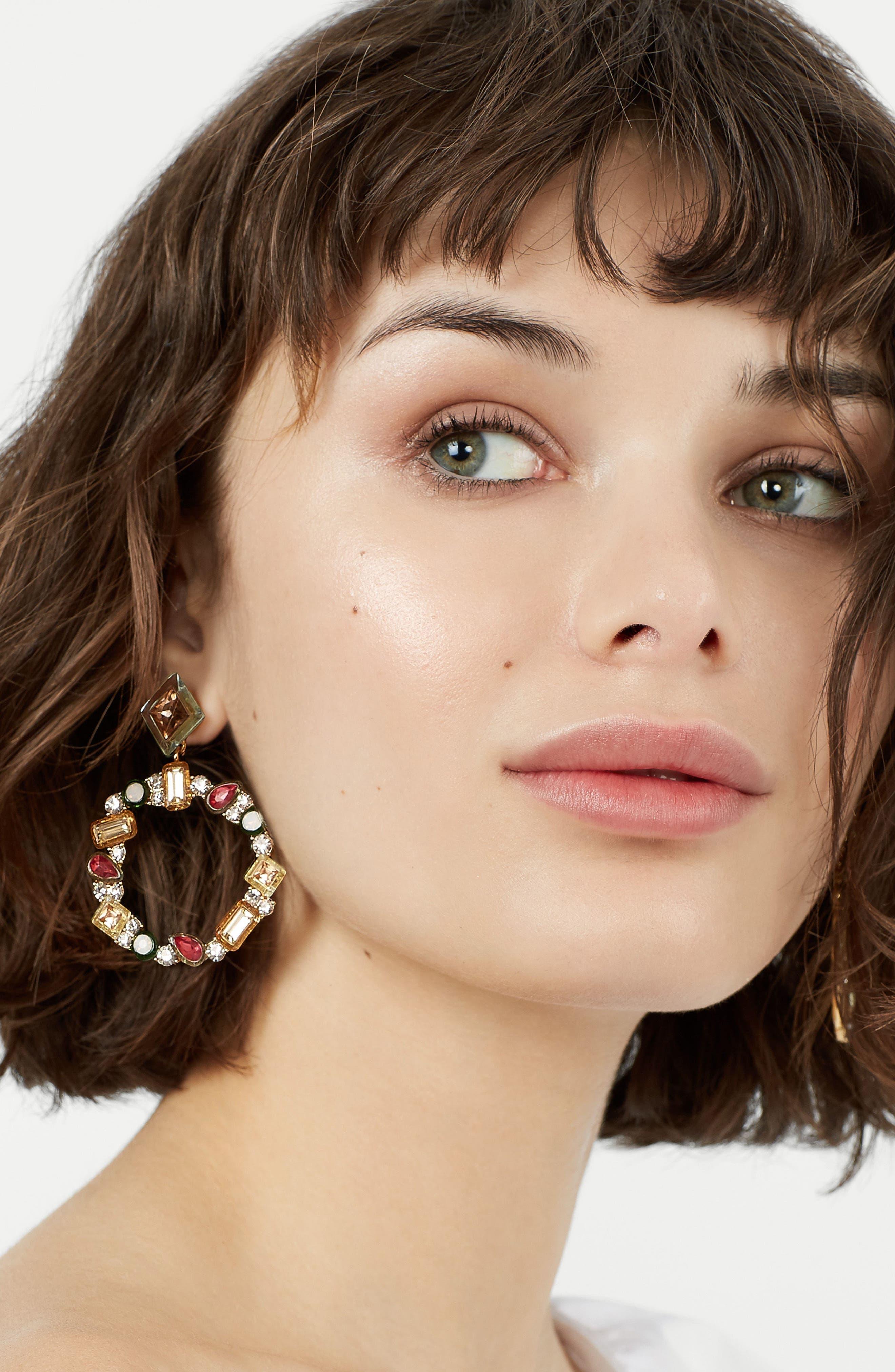 Leora Hoop Earrings,                             Alternate thumbnail 3, color,                             650