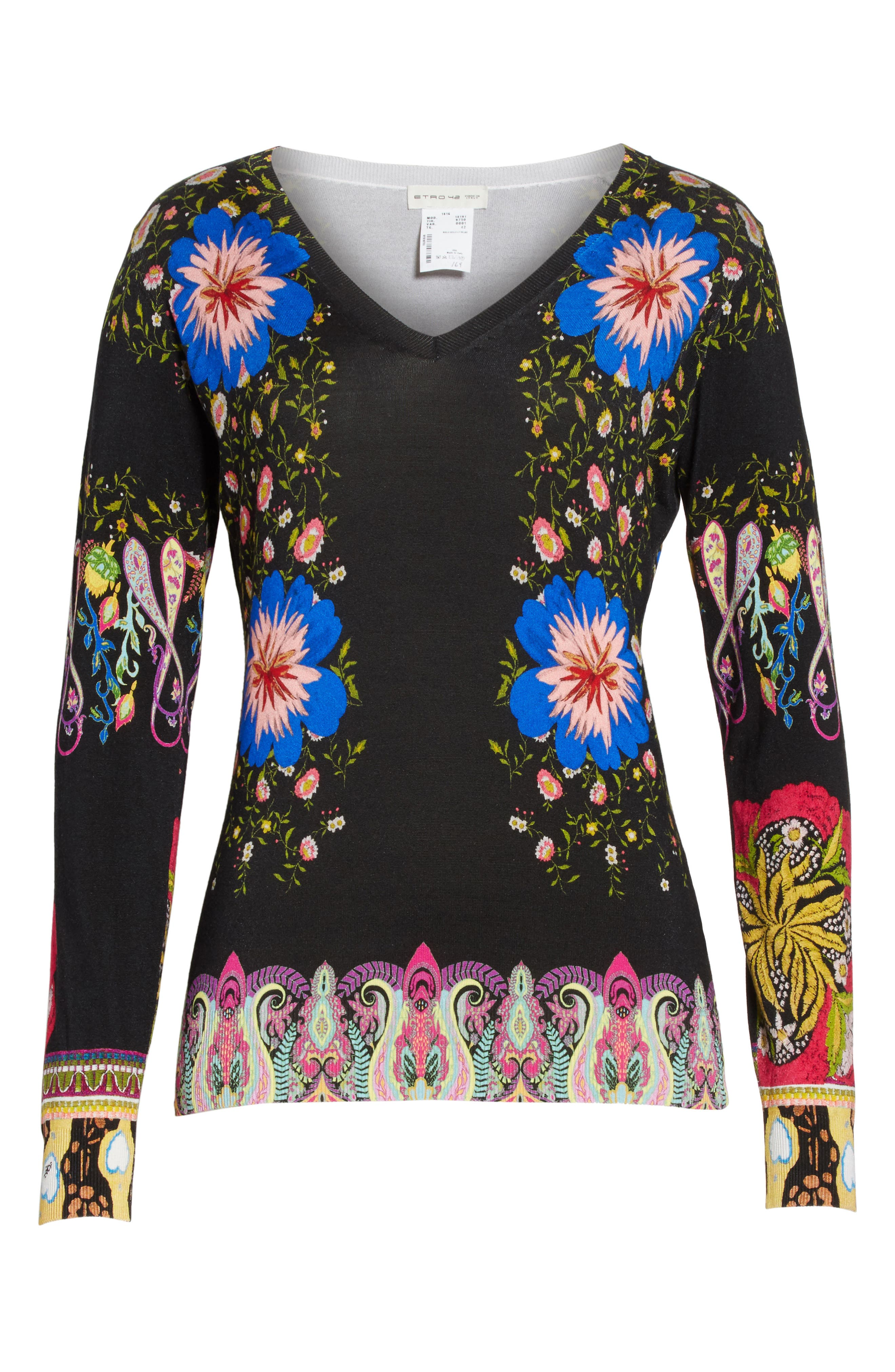 Floral Paisley Stretch Silk Sweater,                             Alternate thumbnail 6, color,